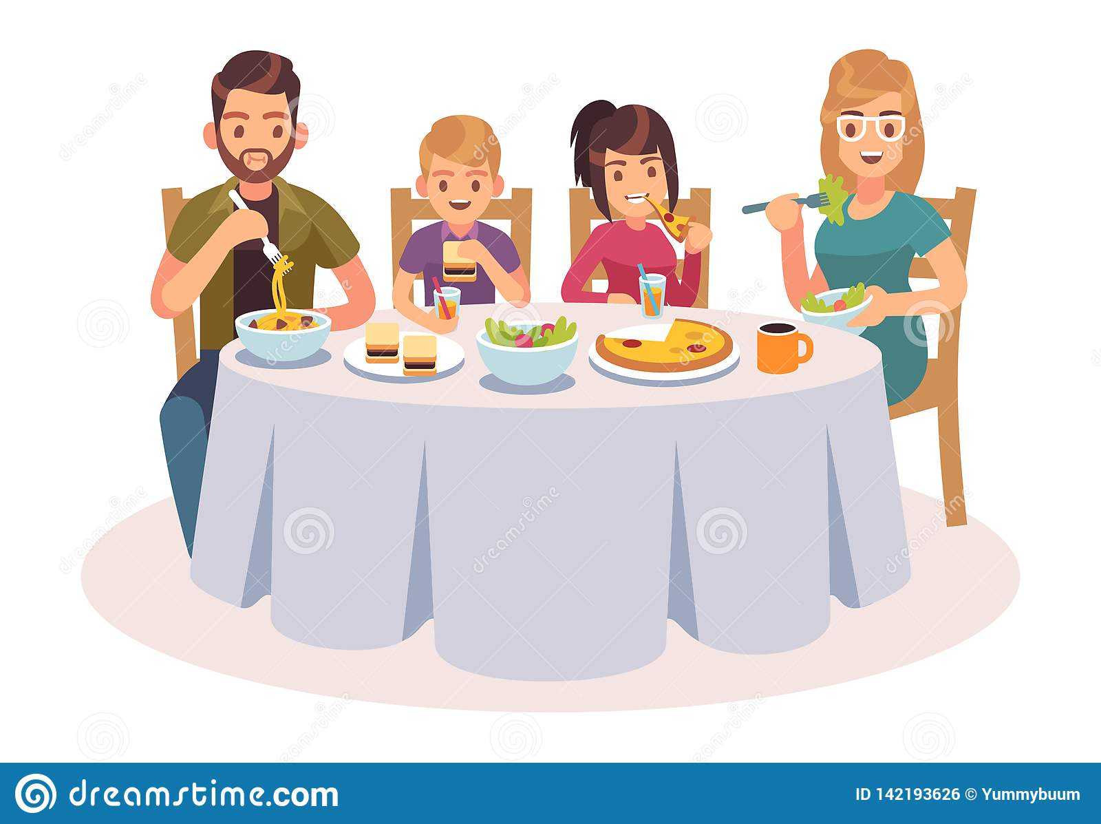 Vector Clipart - Kids eat together. children eating dinner cafe restaurant  happy child breakfast lunch fast food dining friends cartoon vector  concept. Vector Illustration gg112671057 - GoGraph