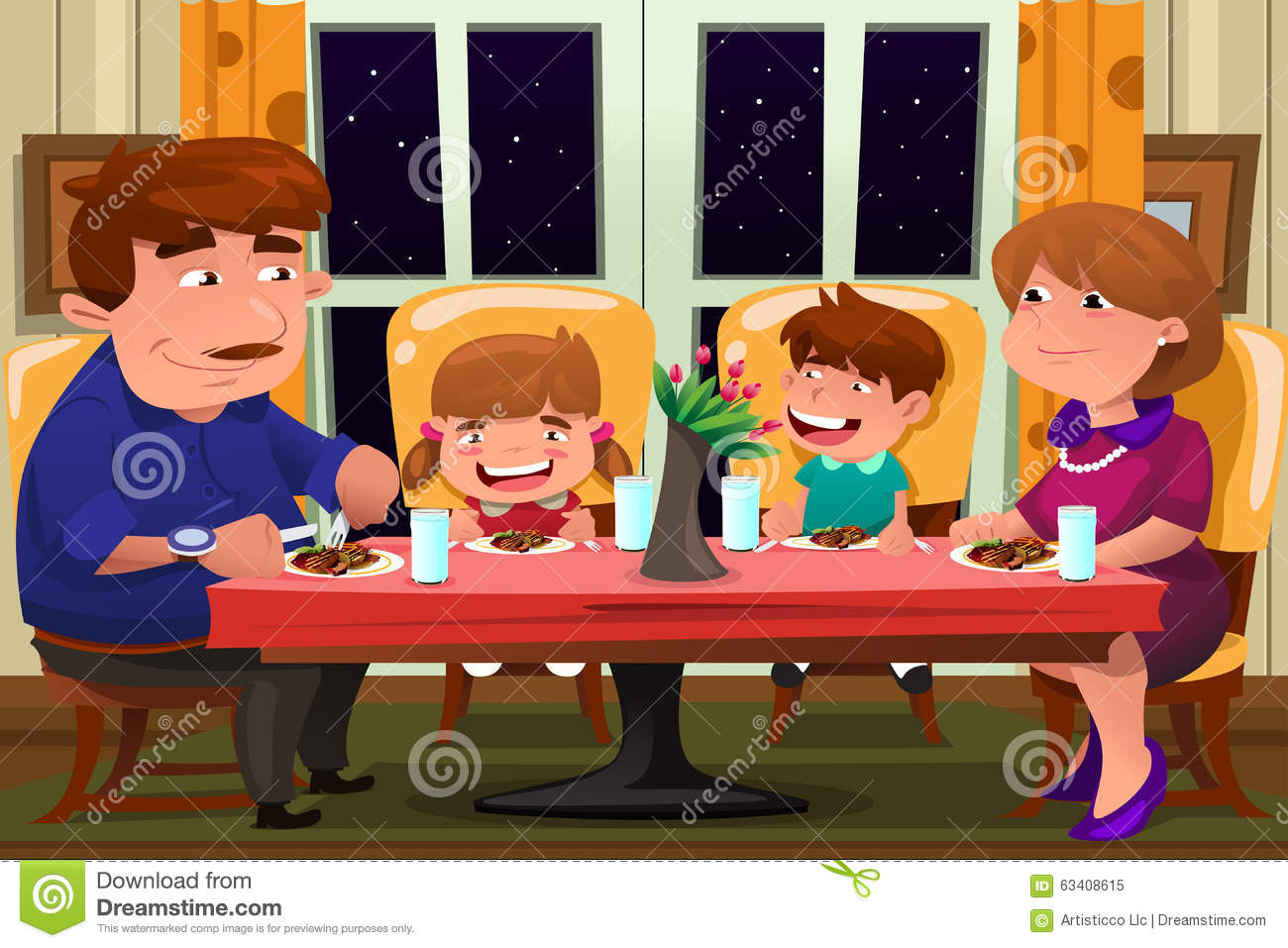 Family Eating Together Stock Vector - Image: 63408615