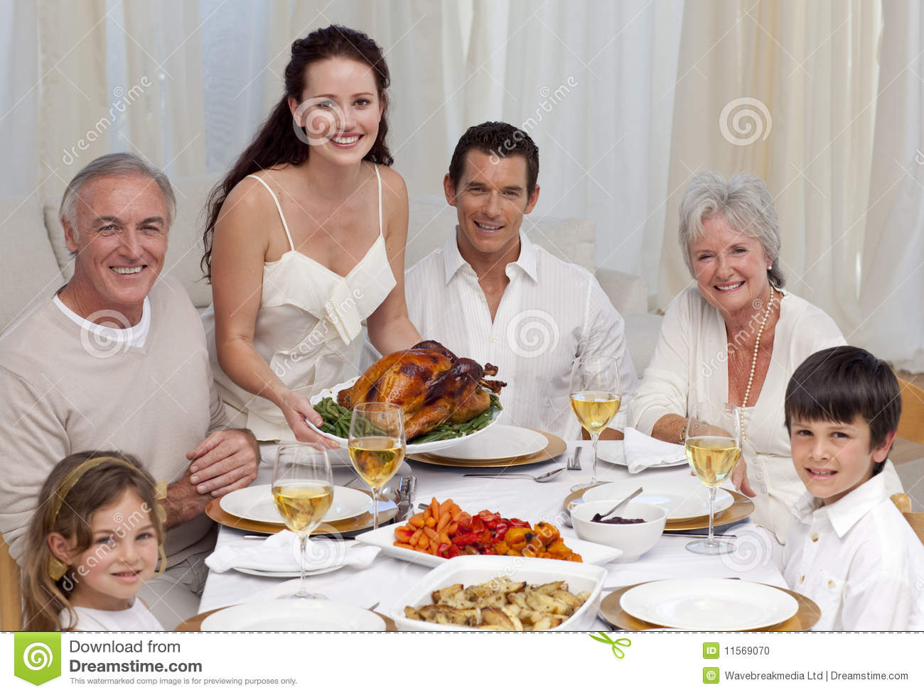 Family eating turkey in a dinner