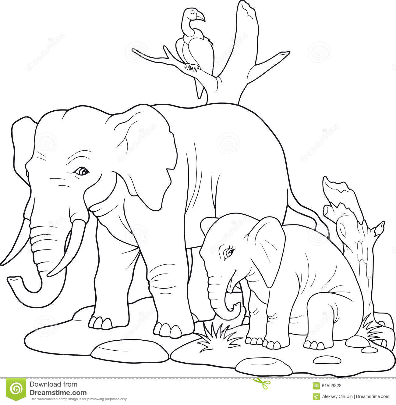 Family Of Elephants Walking Stock Vector