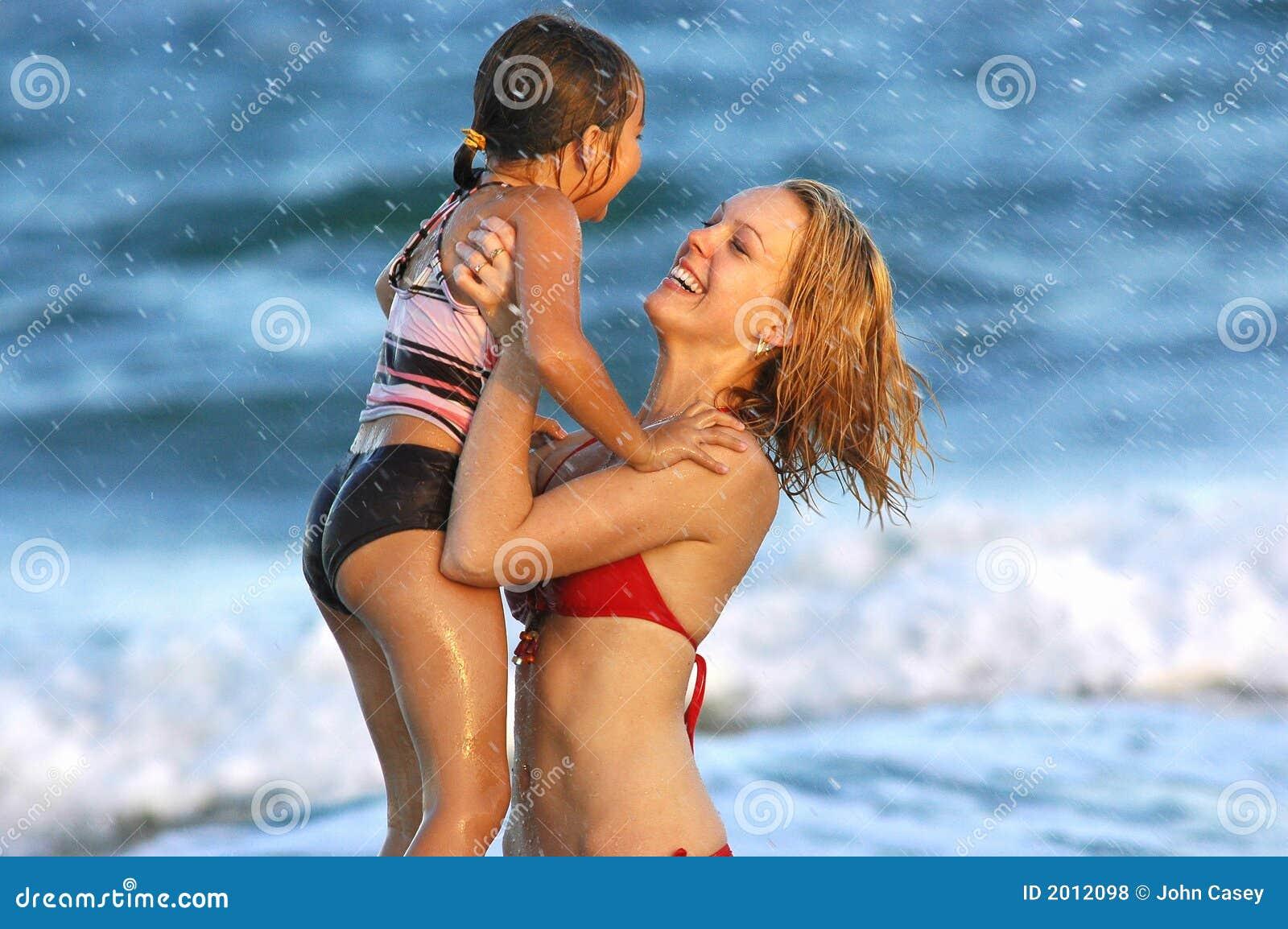 Family enjoying beach lifestyle