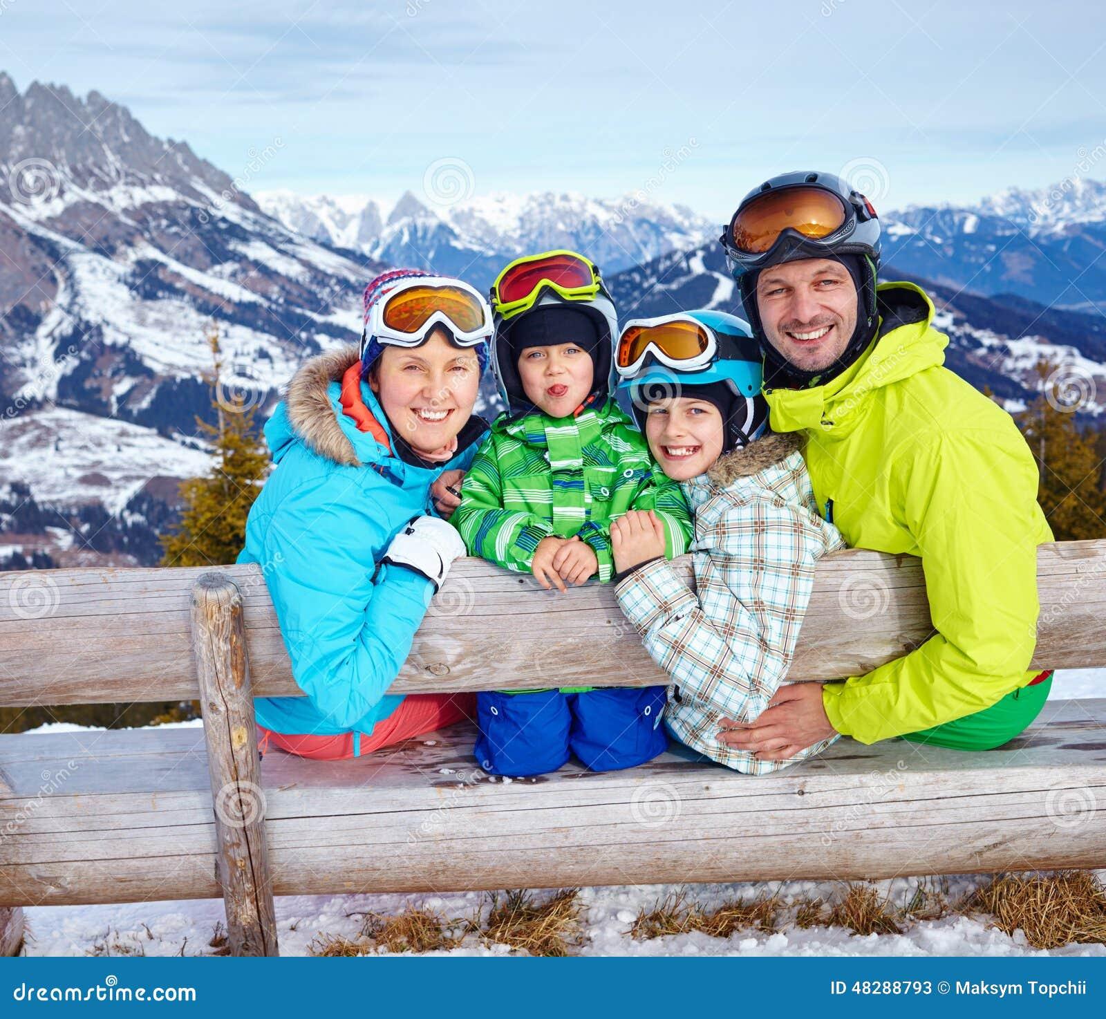 Family enjoying winter vacations stock image image for Best family winter vacations