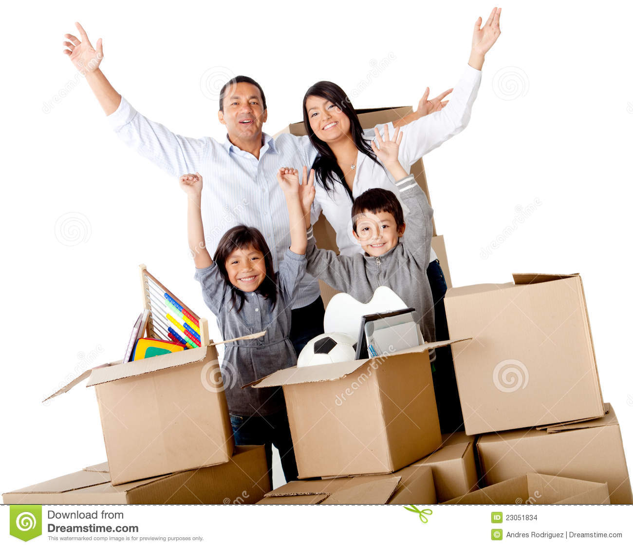 Family excited moving house packing in cardboard boxes isolated