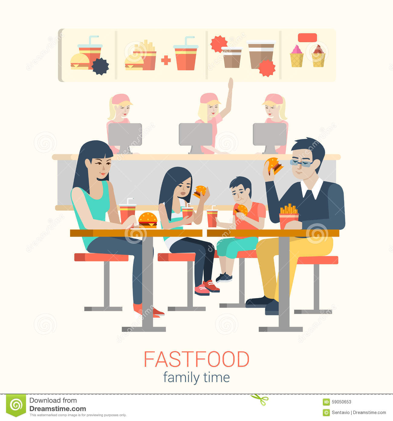 Family In Fastfood Cafe Eating Burger Fries Flat Vector
