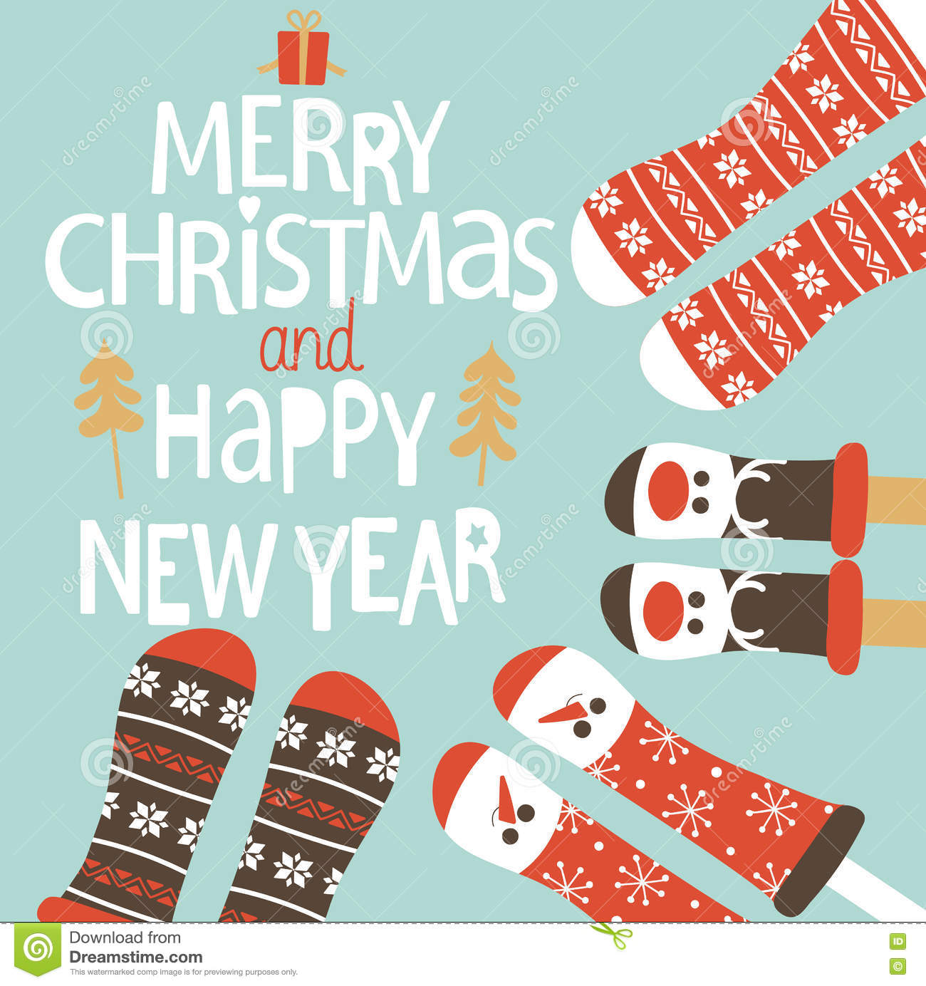 family feet in christmas socks winter holiday concept happy new year greeting card vector illustration