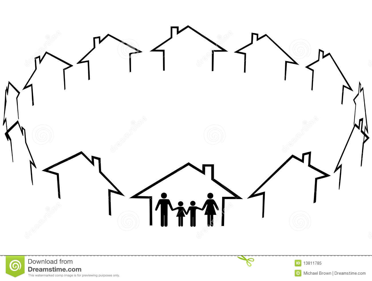 Family Find Home Community Neighbors Houses Royalty Free