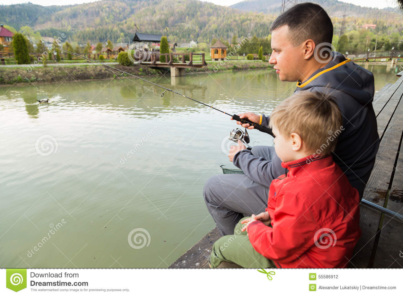 Family fishing stock photo image 55586912 for Father son fishing