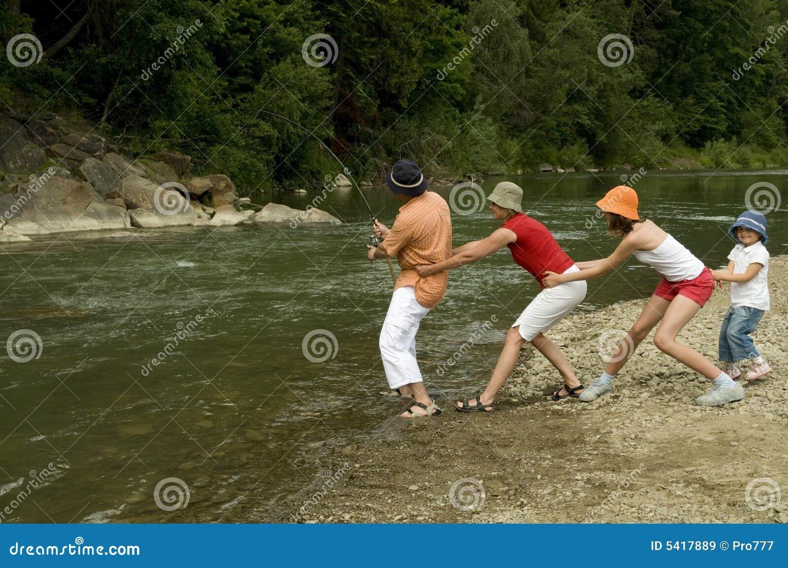 Family fishing team