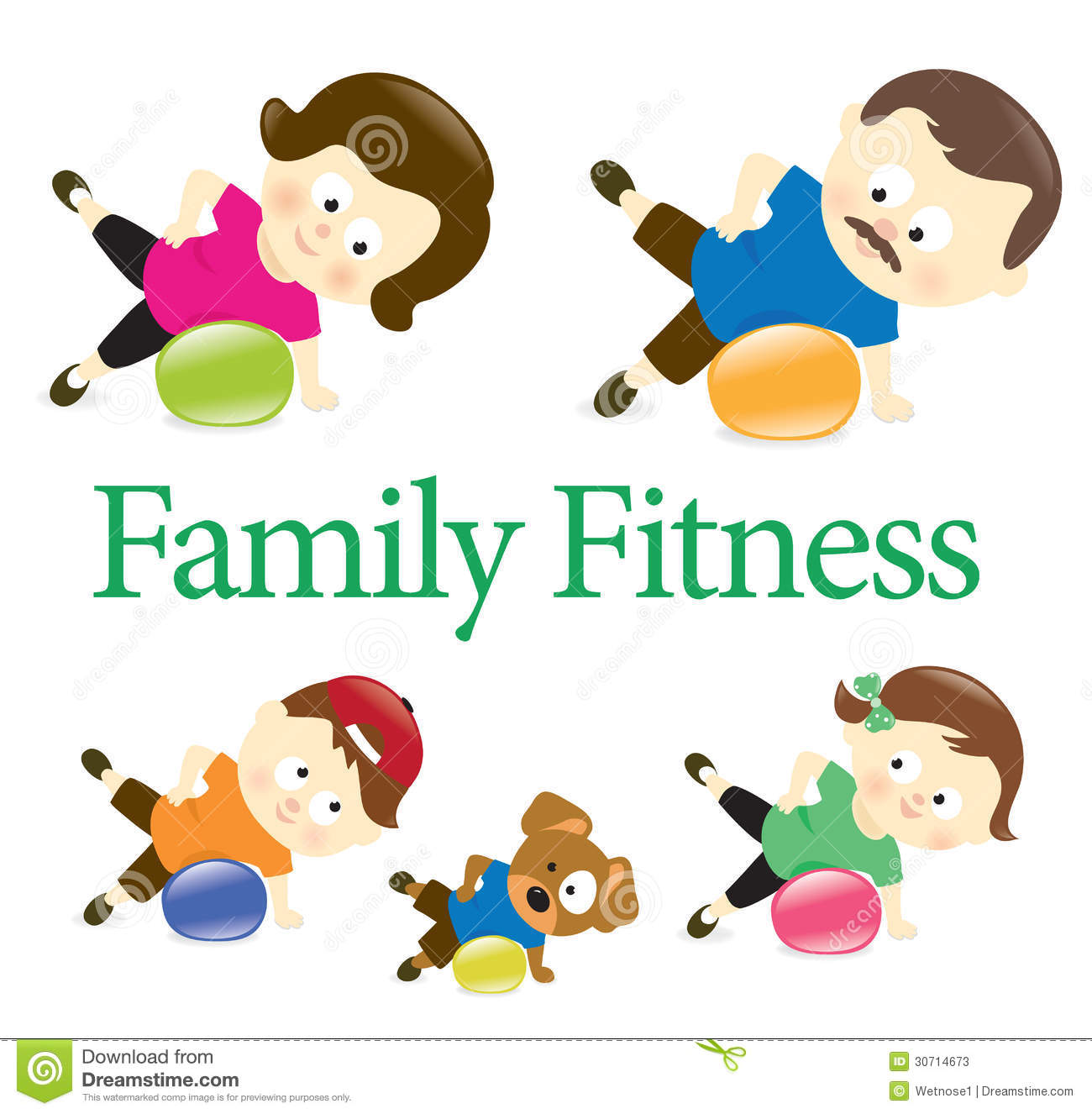 Family Fitness With Exercise Ball 2 Stock Photos - Image: 30714673