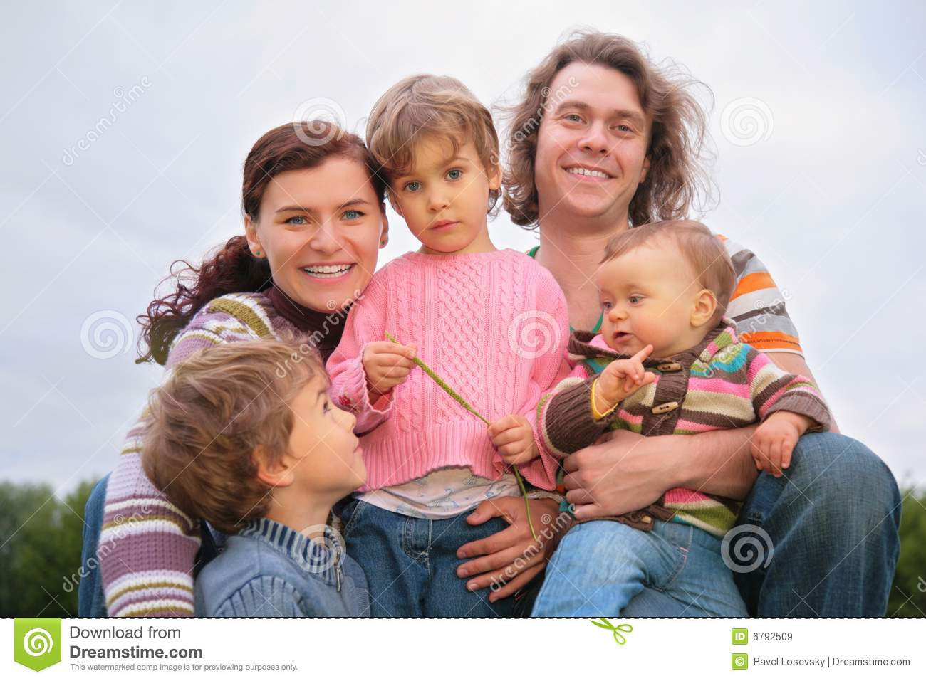 Family of five portrait