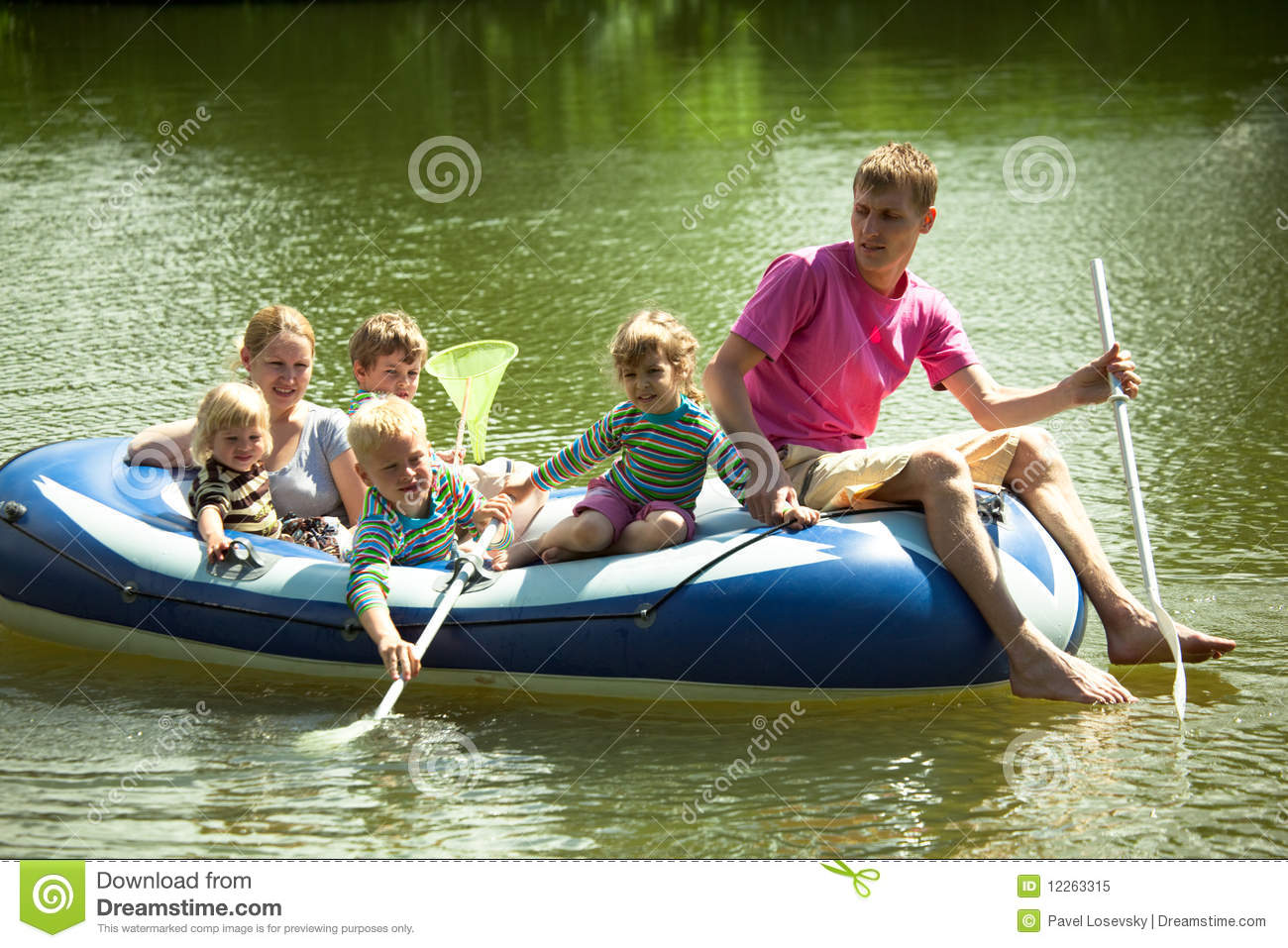Family float on an inflatable boat and fish net stock for Best boat for fishing and family fun