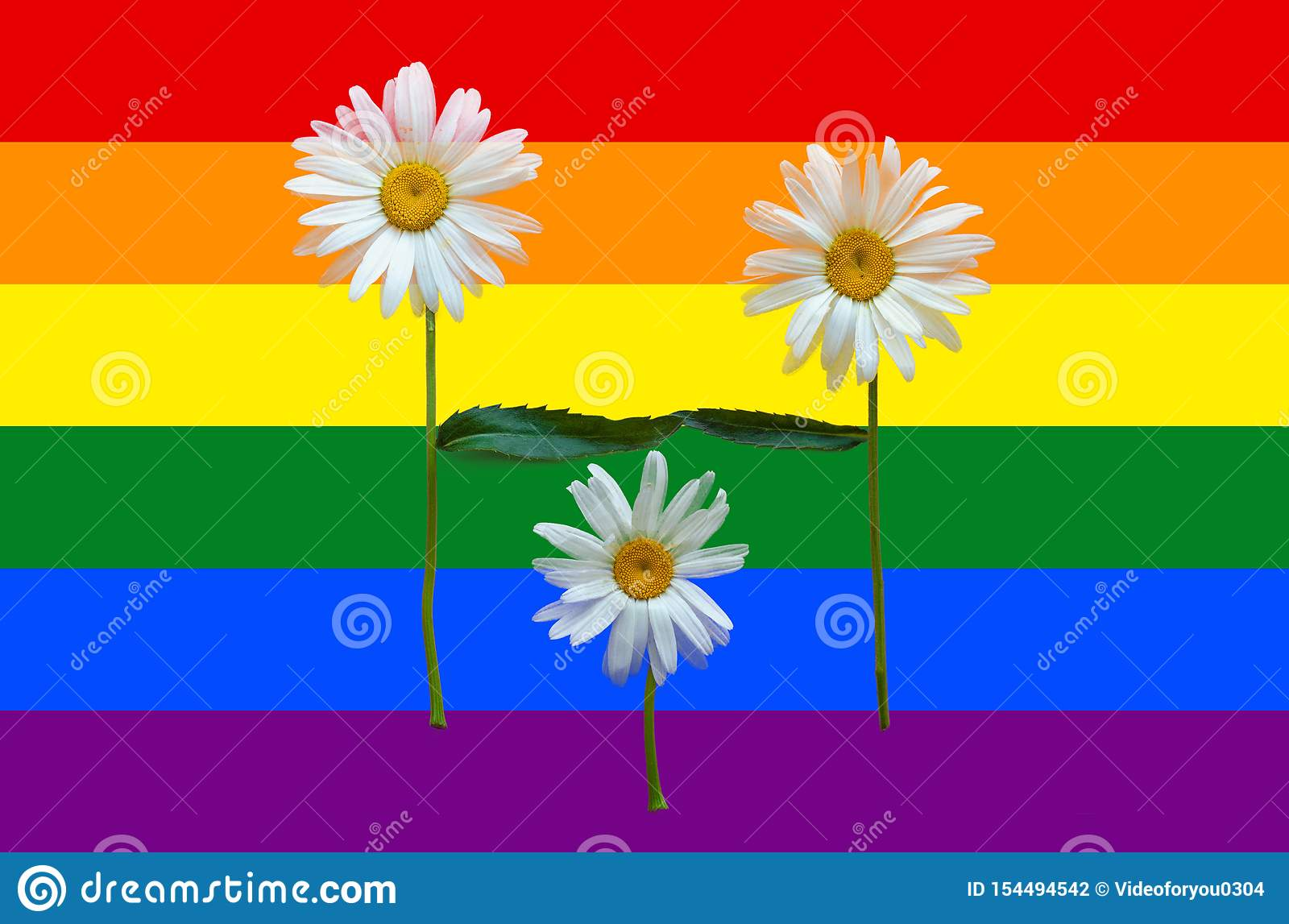 A family of flowers - Dad, Mom and Children. Parents and Child. Couple in love. The concept of adoption of children by same-sex