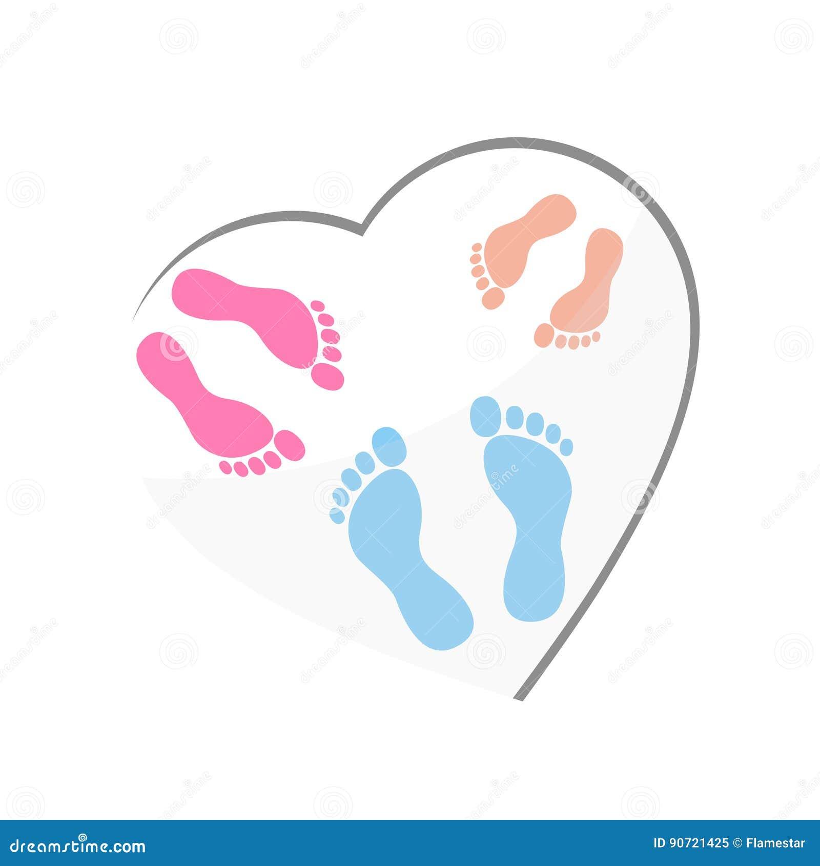 new born baby logo heart cartoon vector