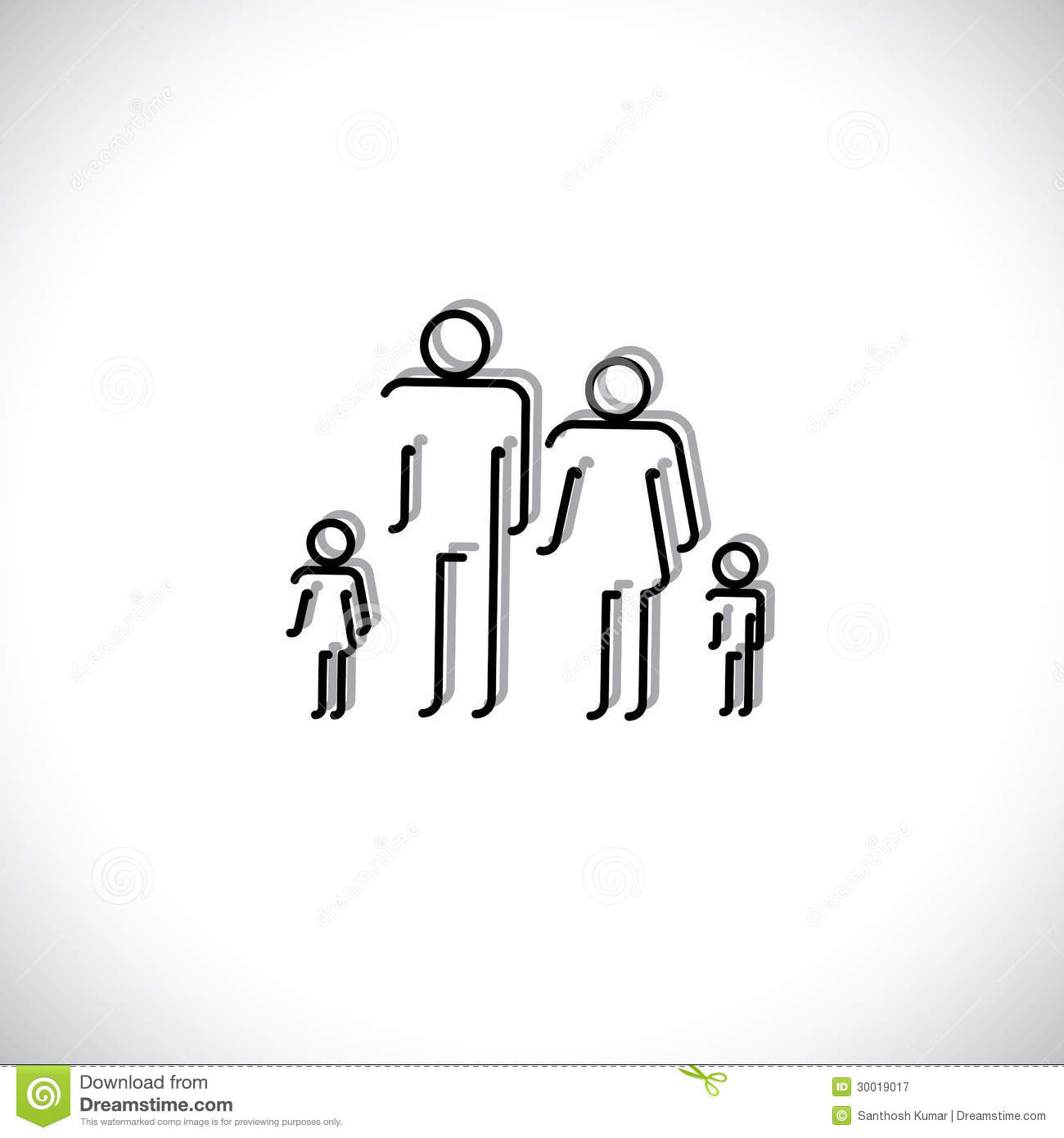 Family of four people abstract icons using line drawing stock royalty free stock photo biocorpaavc