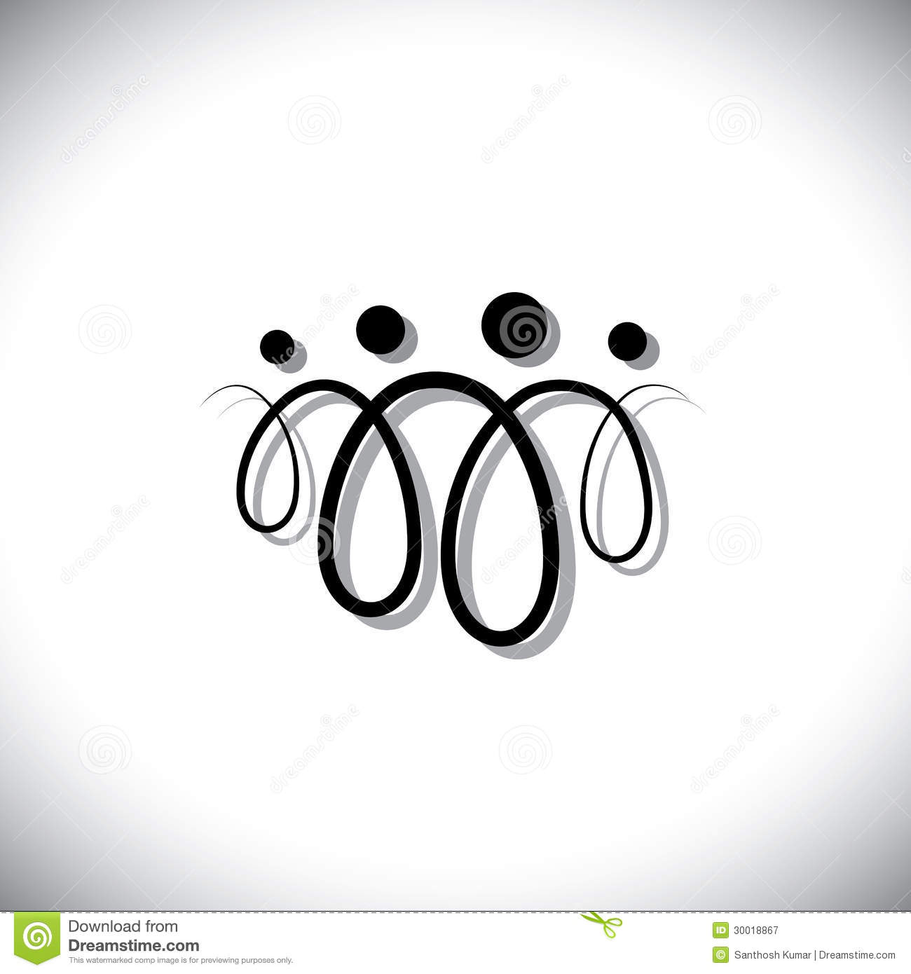 Family Of Four People Abstract Symbolsicons Using Line Loops Stock