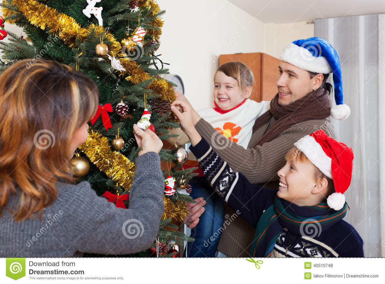 Family Of Four People Stock Photo. Image Of European