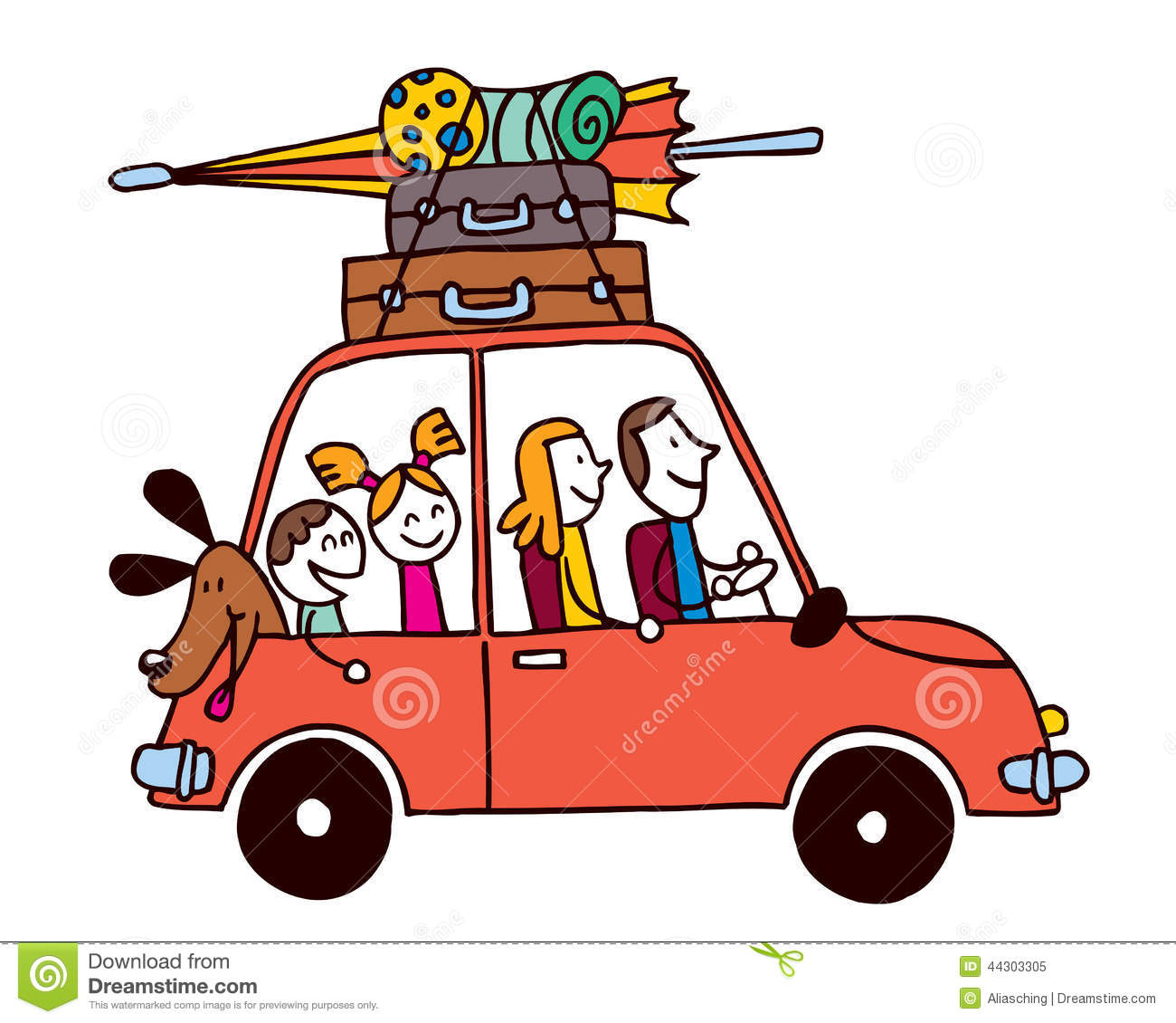 Download Family Of Four Vacation Car With Luggage Travel Vector Illustration Stock