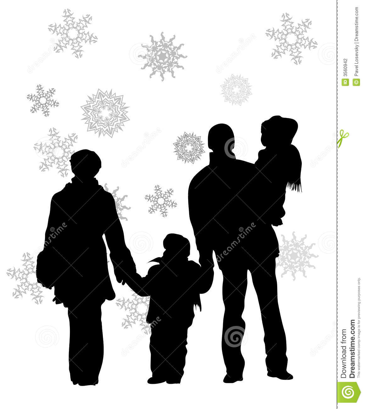 family of four in winter stock vector image of contour Silhouette Vector Art Silhouette Vector Art