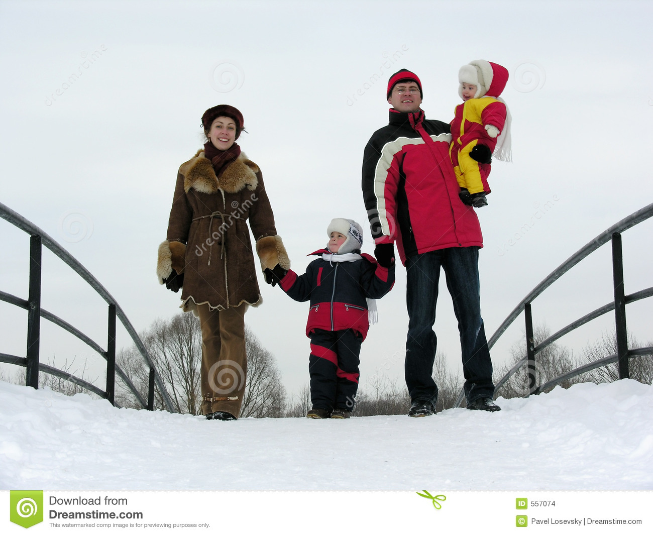 Download Family Of Four On Winter Bridge Stock Photo - Image of parent, child: 557074