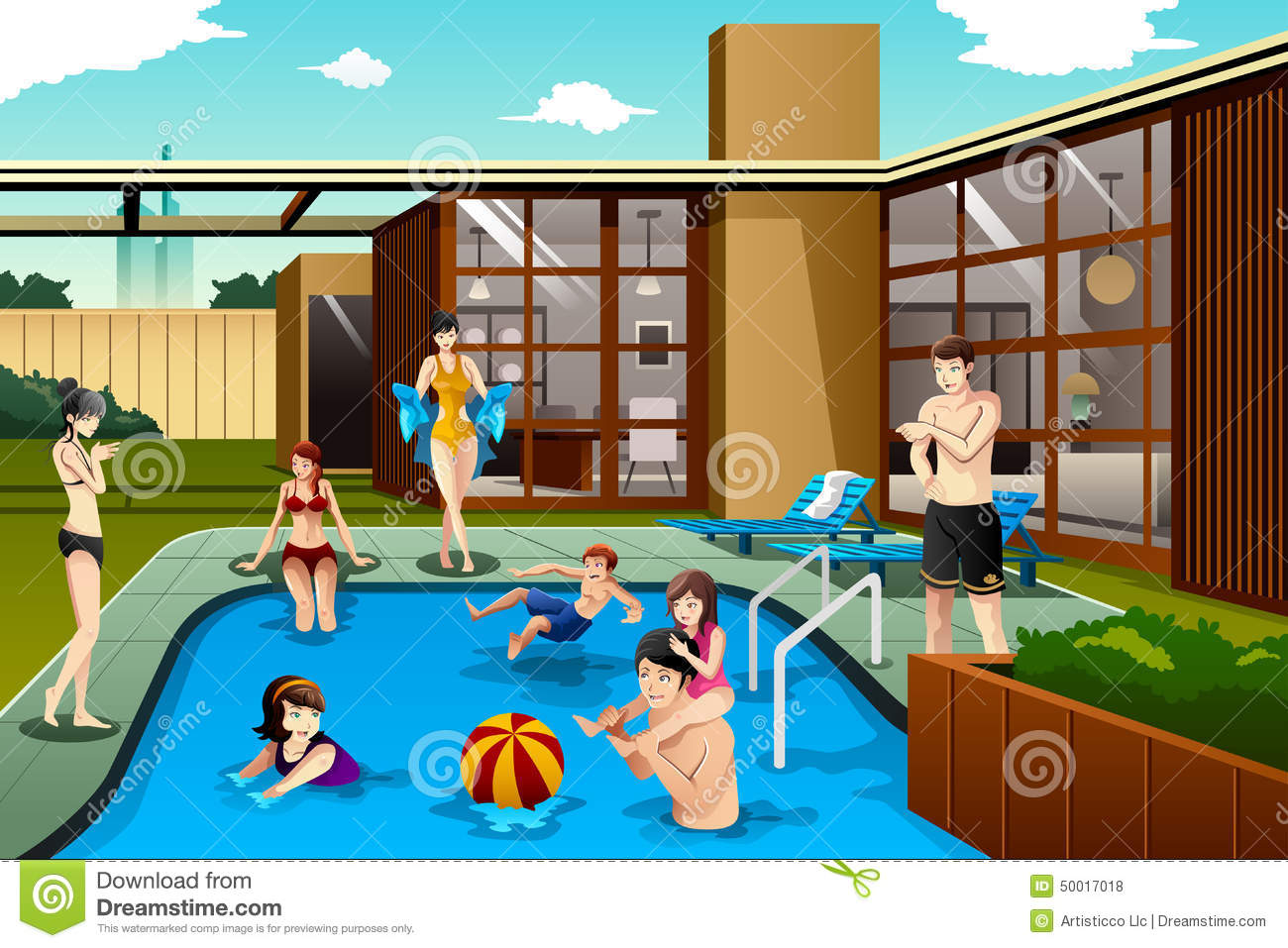 Drawing Swimming Pools : Family and friends spending time in the backyard swimming