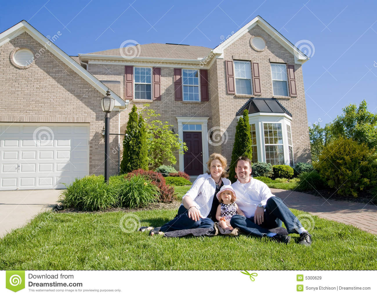 Family in front of house stock image image of females for A family house