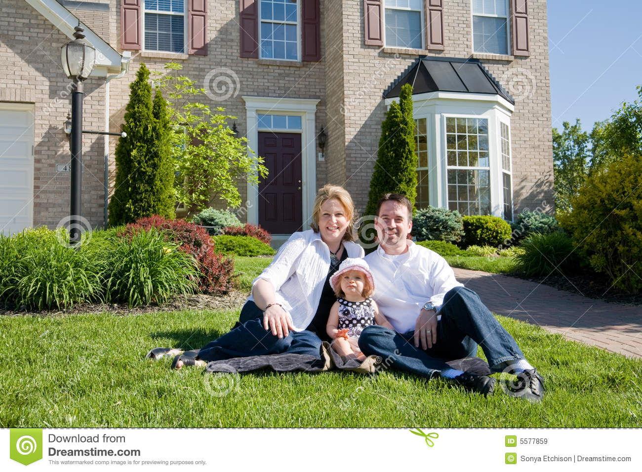 Family in front of house stock image image of feeling for A family house