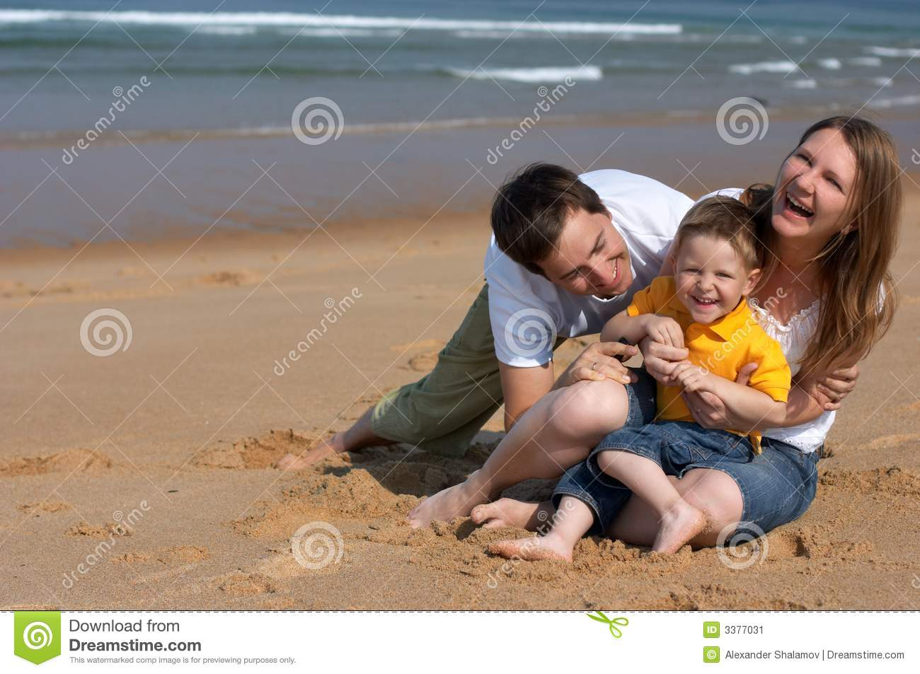 Download Family fun at the beach stock image. Image of sandy, family - 3377031