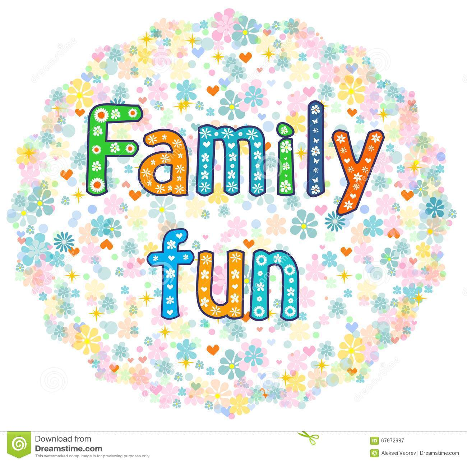 Family Fun Decorative Lettering Text. Stock Vector