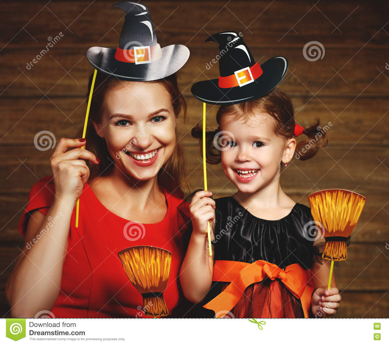 Family Fun Mother And Child Daughter Celebrate Halloween In Witc ...