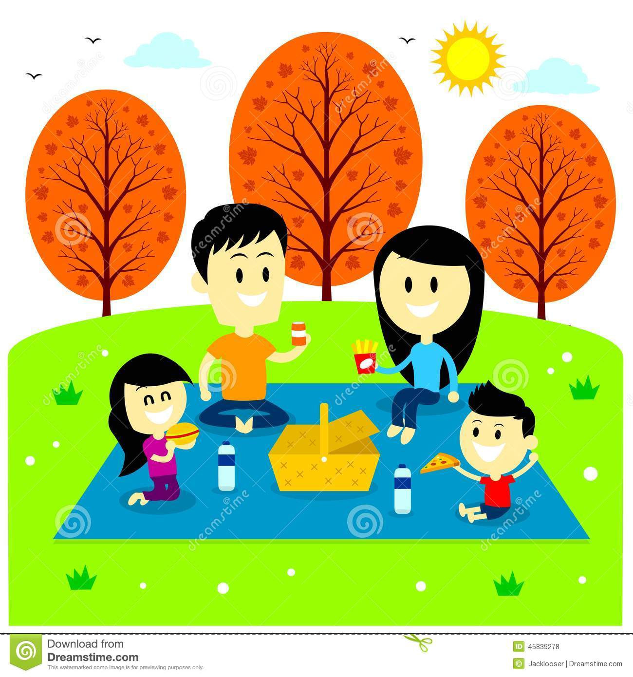 Family enjoying picnic at the park bringing their favorite meals (in ...