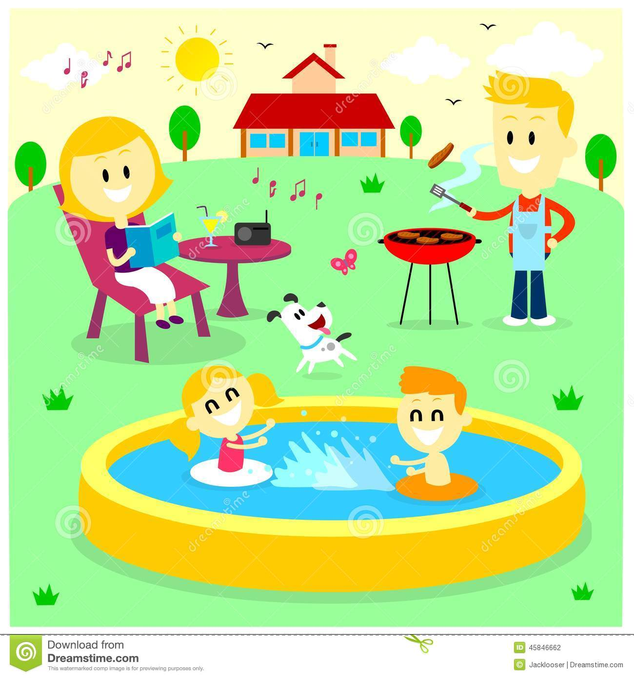 family fun time at the backyard house stock vector image 45846662