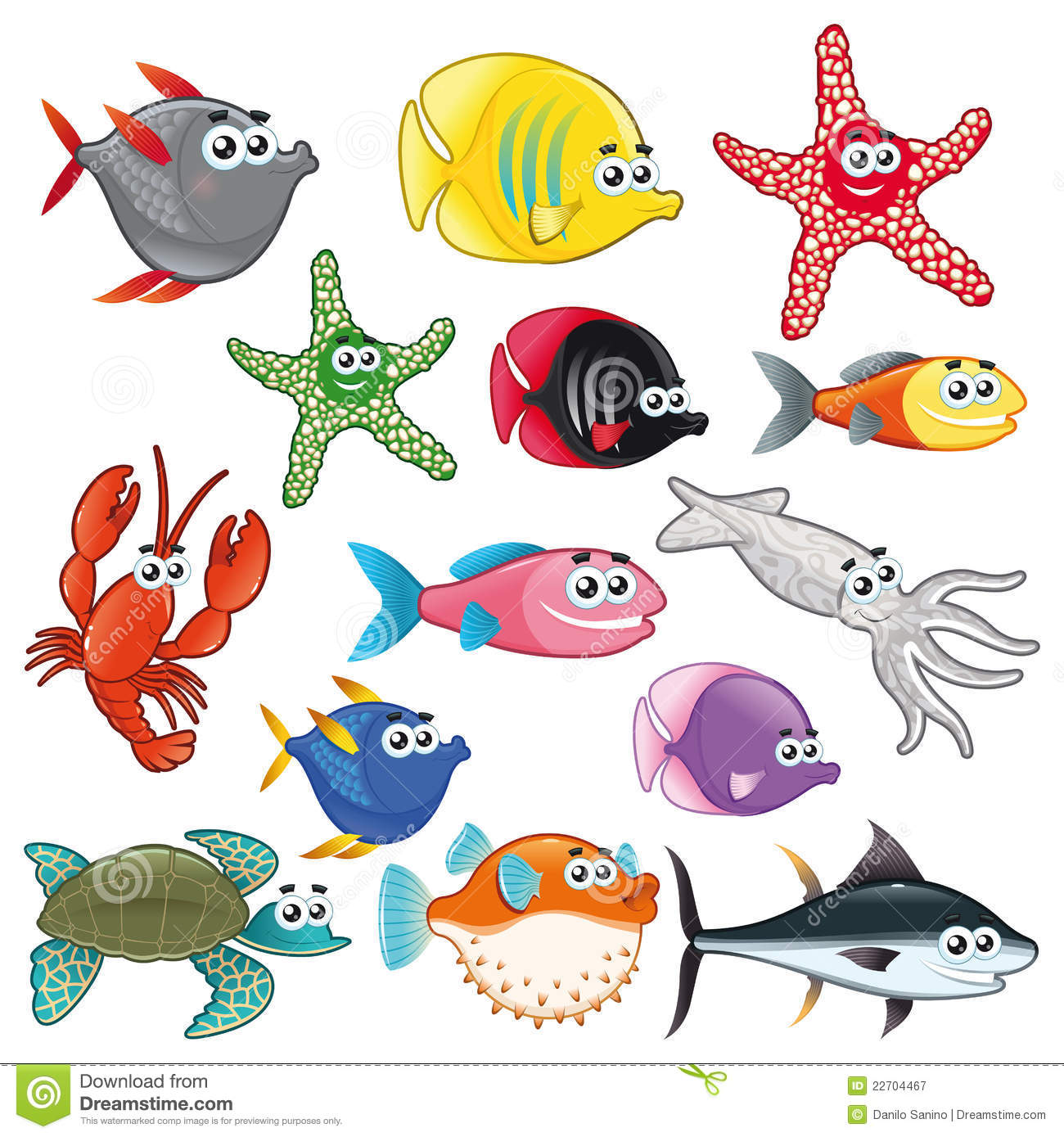 Family of funny fish. stock vector. Illustration of squid - 22704467