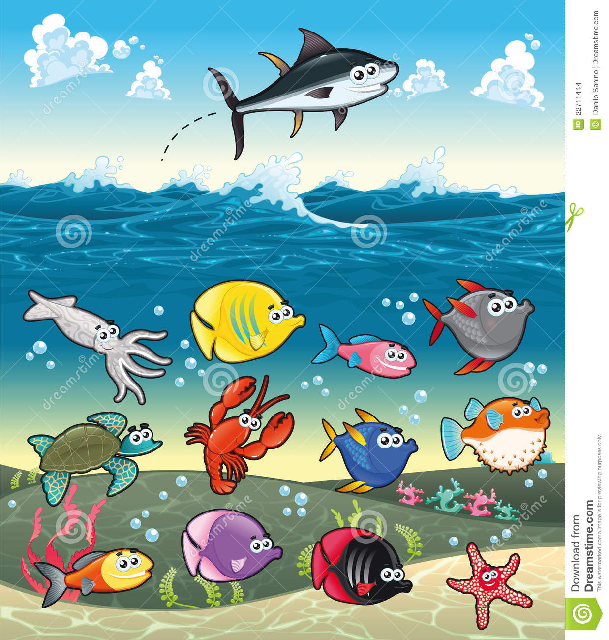 family of funny fish under the sea stock images image 22711444