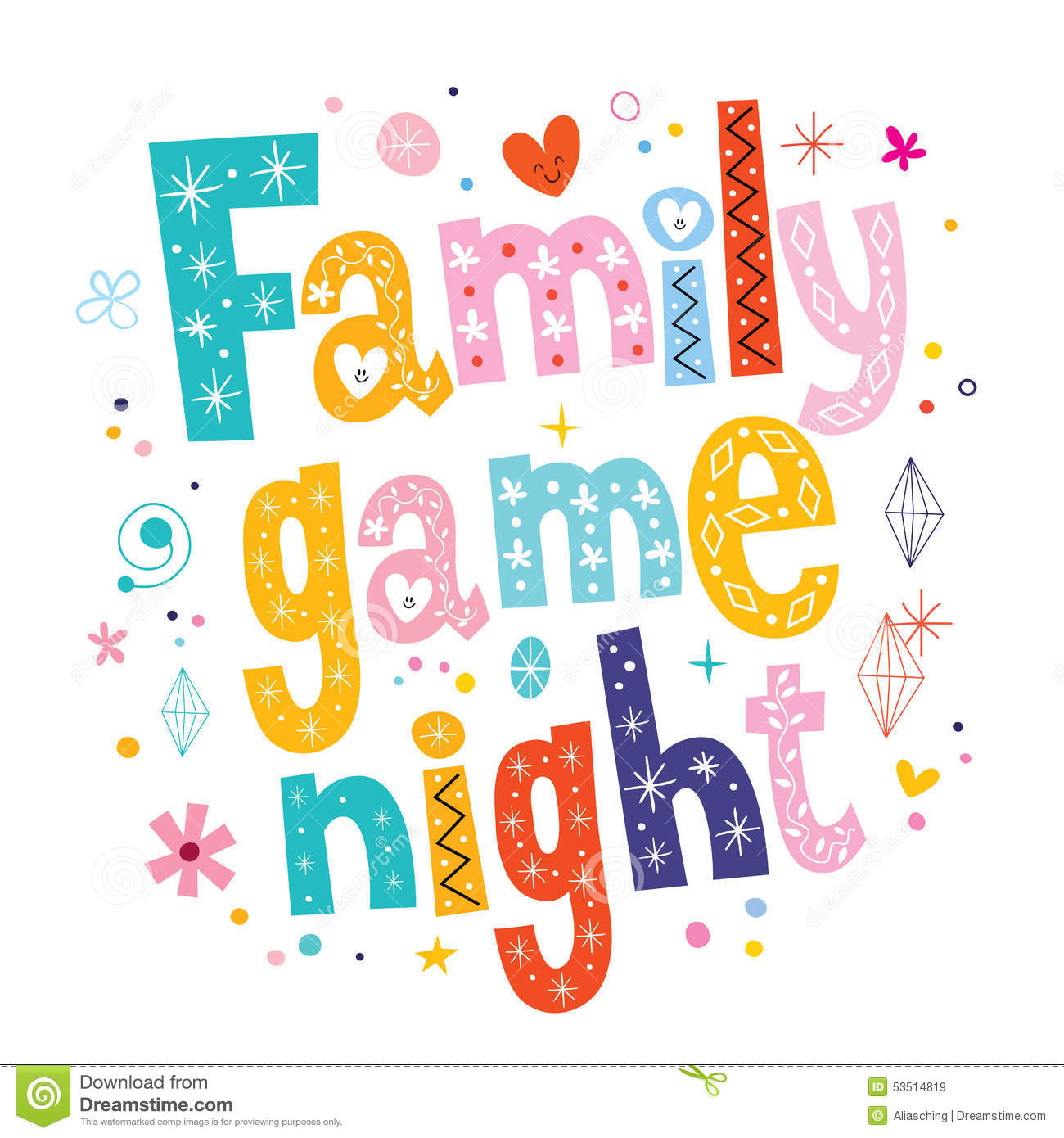 Family Game Night Clip Art family game night stock photo - image ...