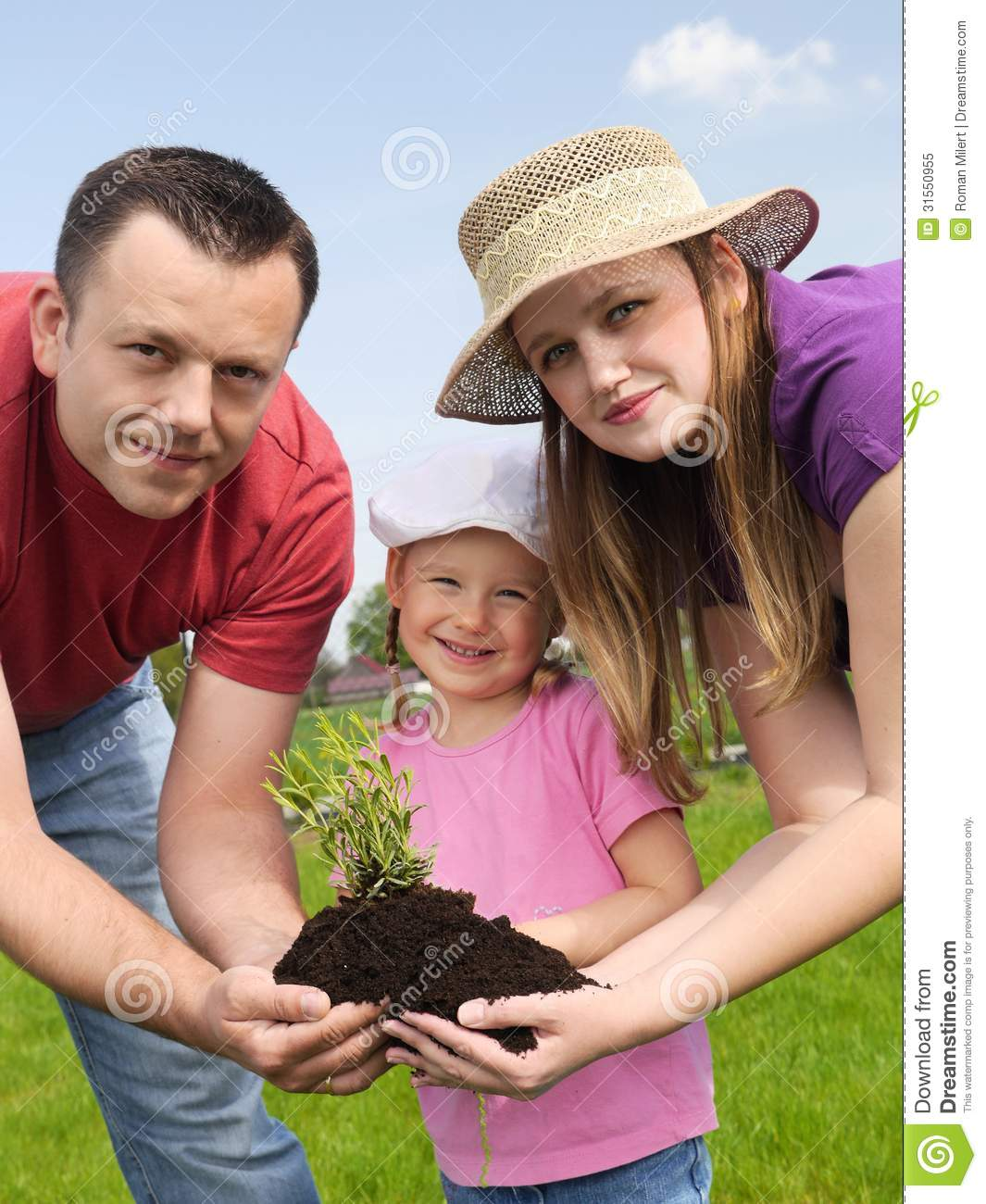 Family Gardening Stock Image. Image Of Daddy, Natural