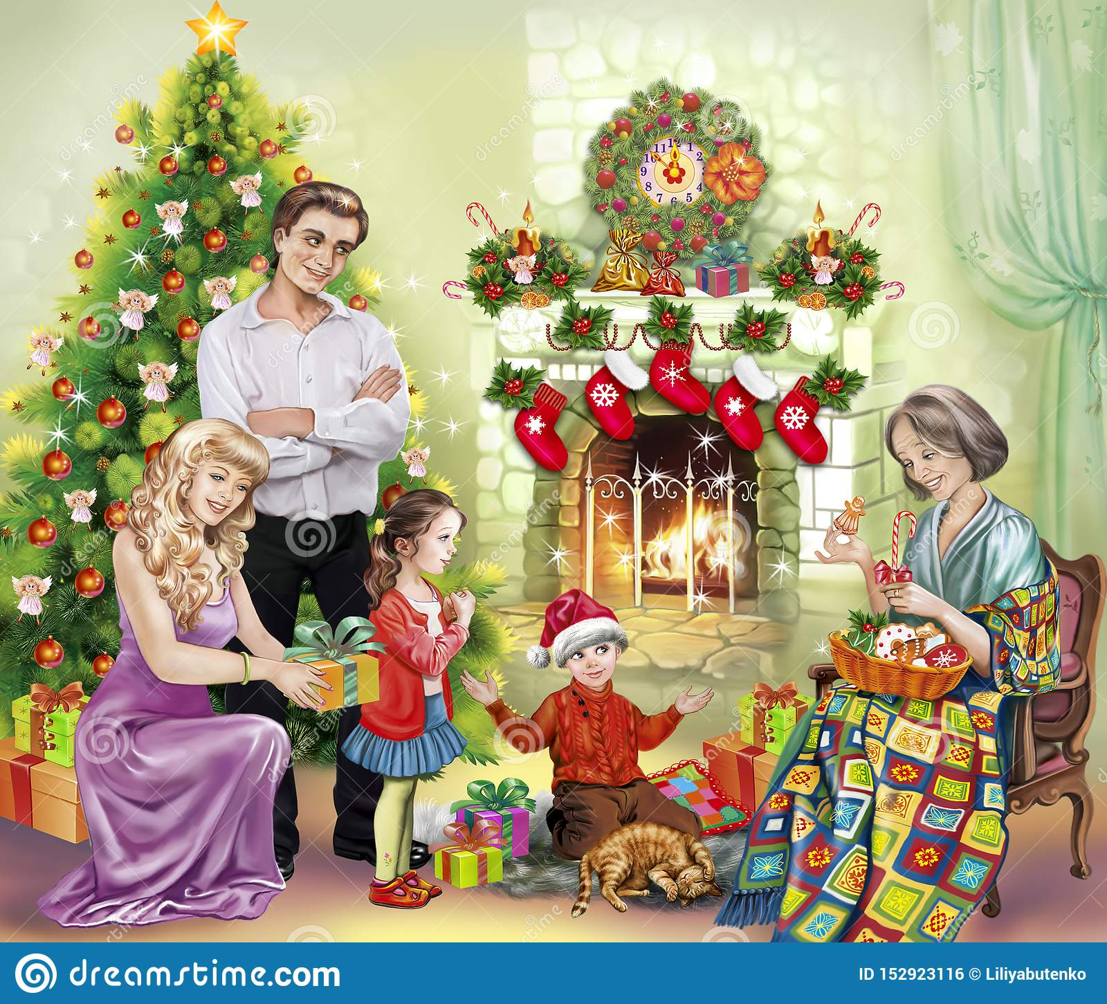 The Family Gathered At The Fireplace With Presents For Christmas