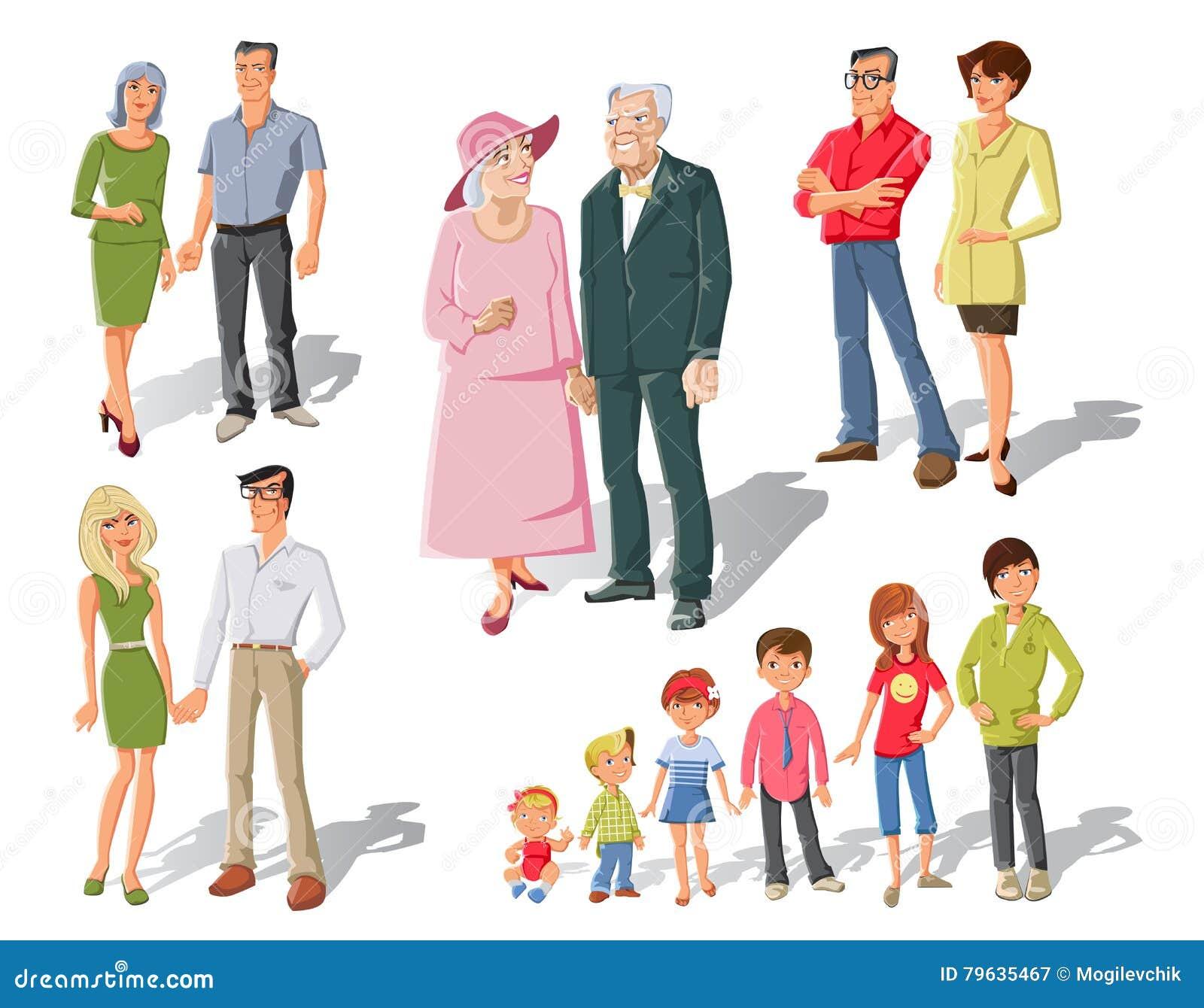 family generations cartoon set stock vector