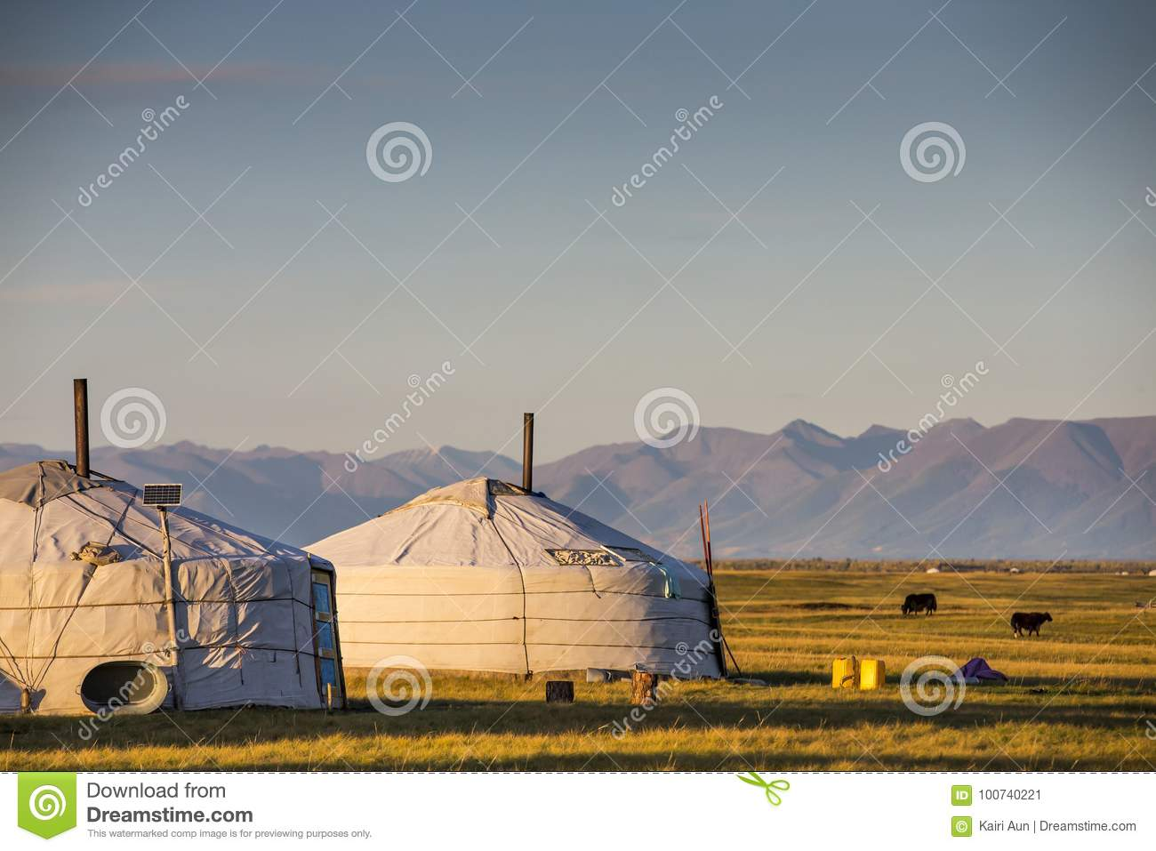 Family gers in a landscape of norther Mongolia