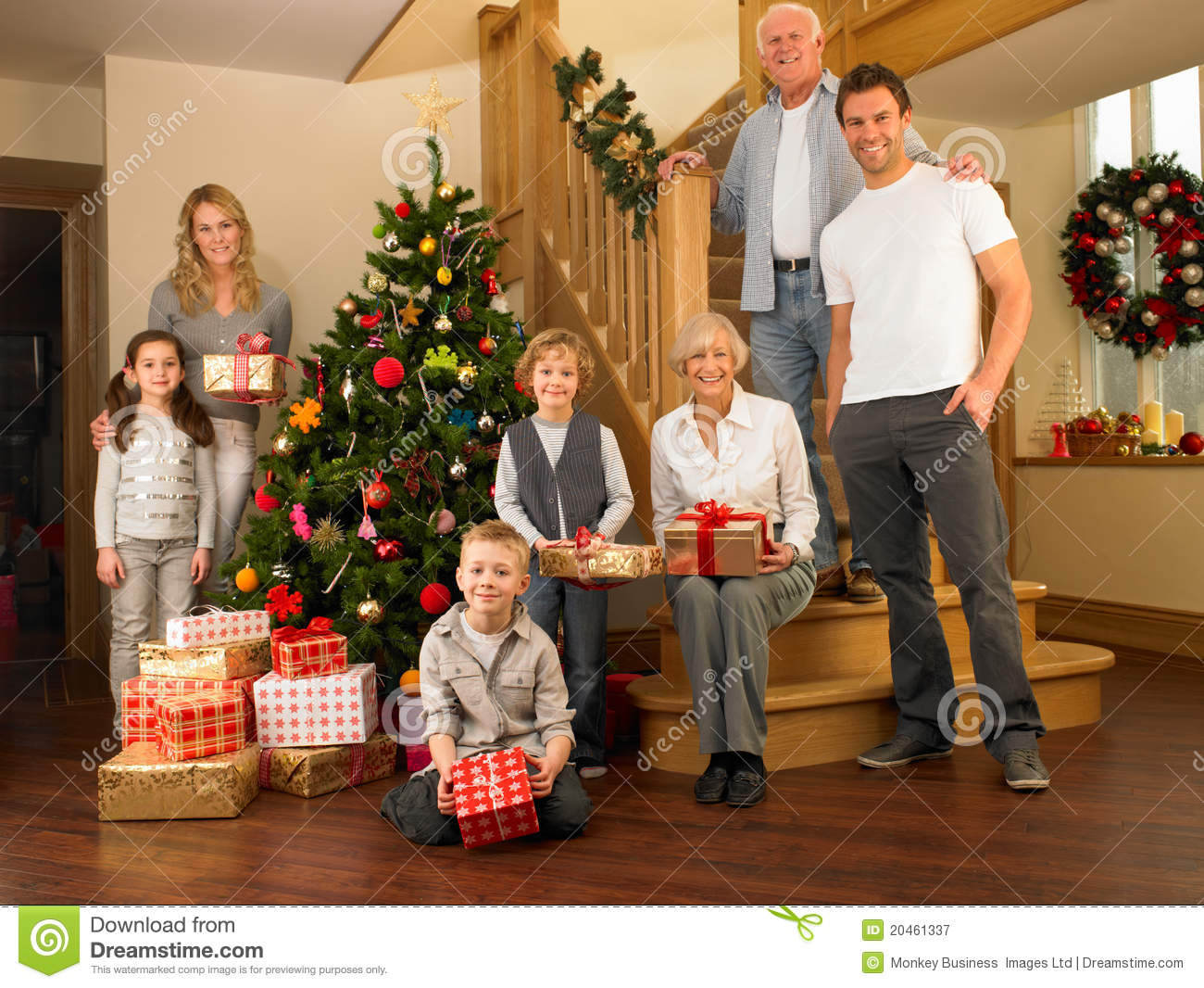 Ordinary Family Around Christmas Tree Part - 6: Royalty-Free Stock Photo. Download Family With Gifts Around The Christmas  Tree ...