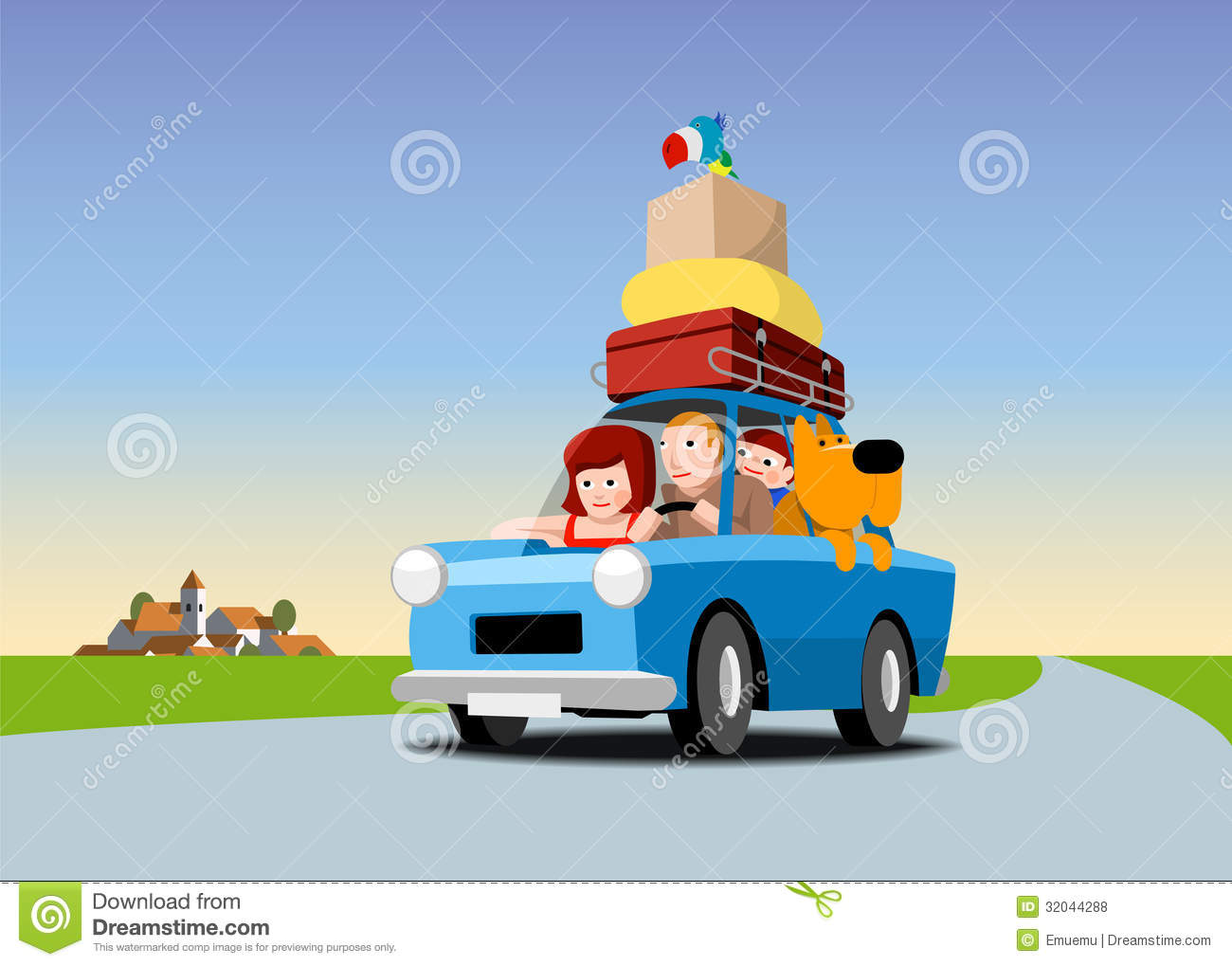 The Family Goes On Vacation By Car Royalty Free Stock Photos - Image ...