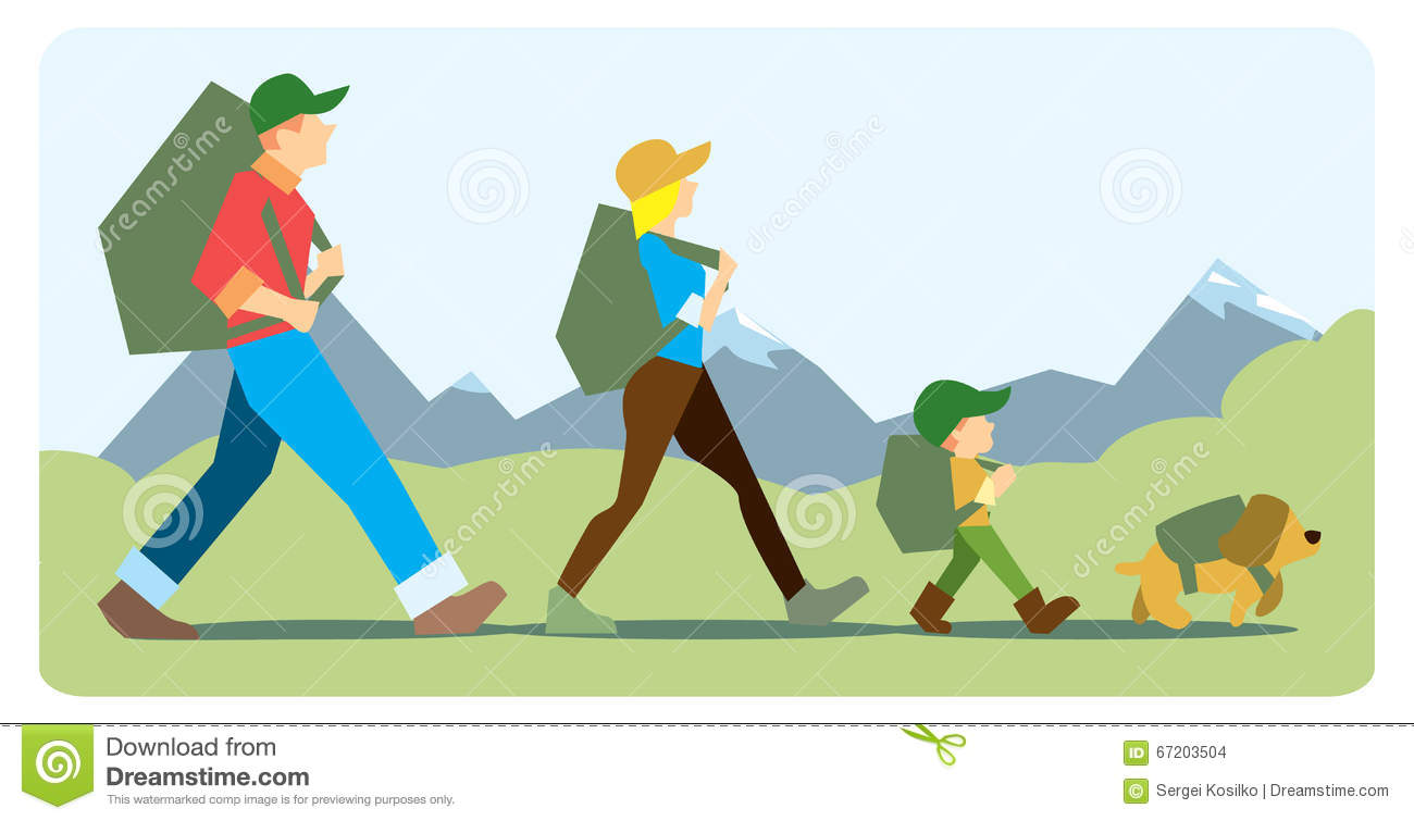 family going to the mountain with backpacks stock vector