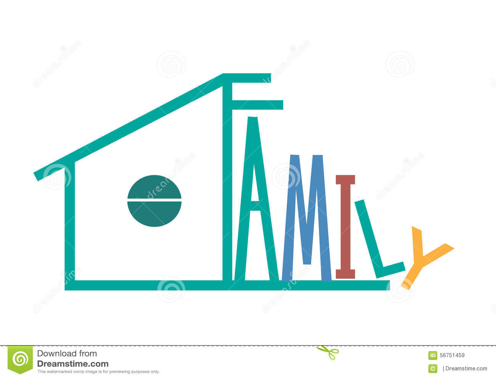 Family Graphic Design Illustration Gren House Stock
