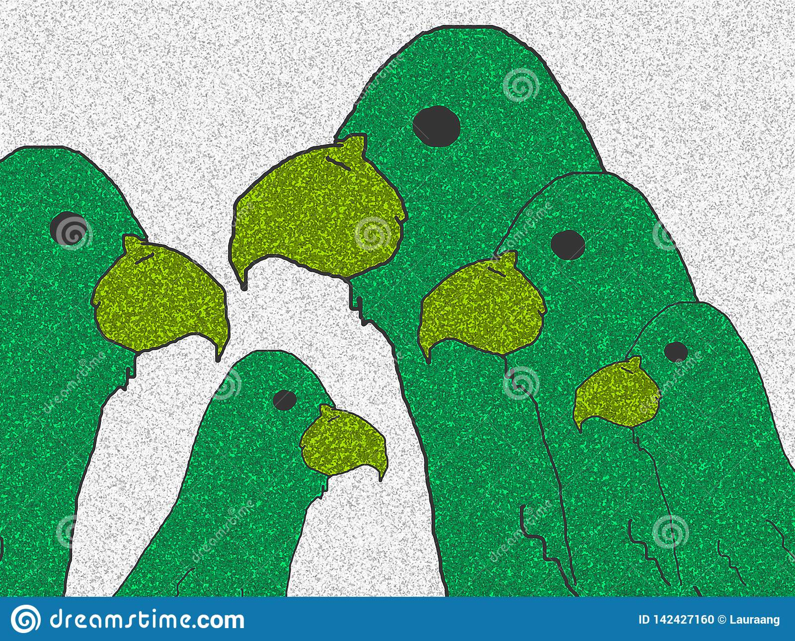 Family of green parrots.