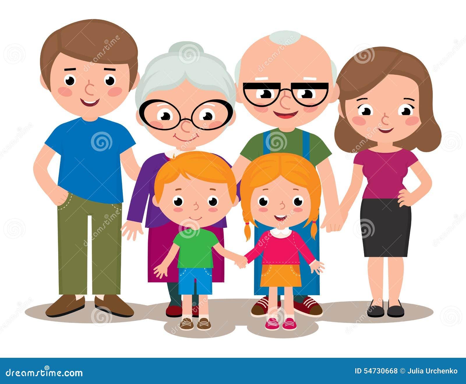 Family Group Portrait Parents Grandparents And Children Stock Vector