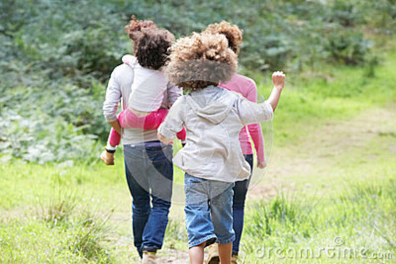 Family Group Walking In Countryside
