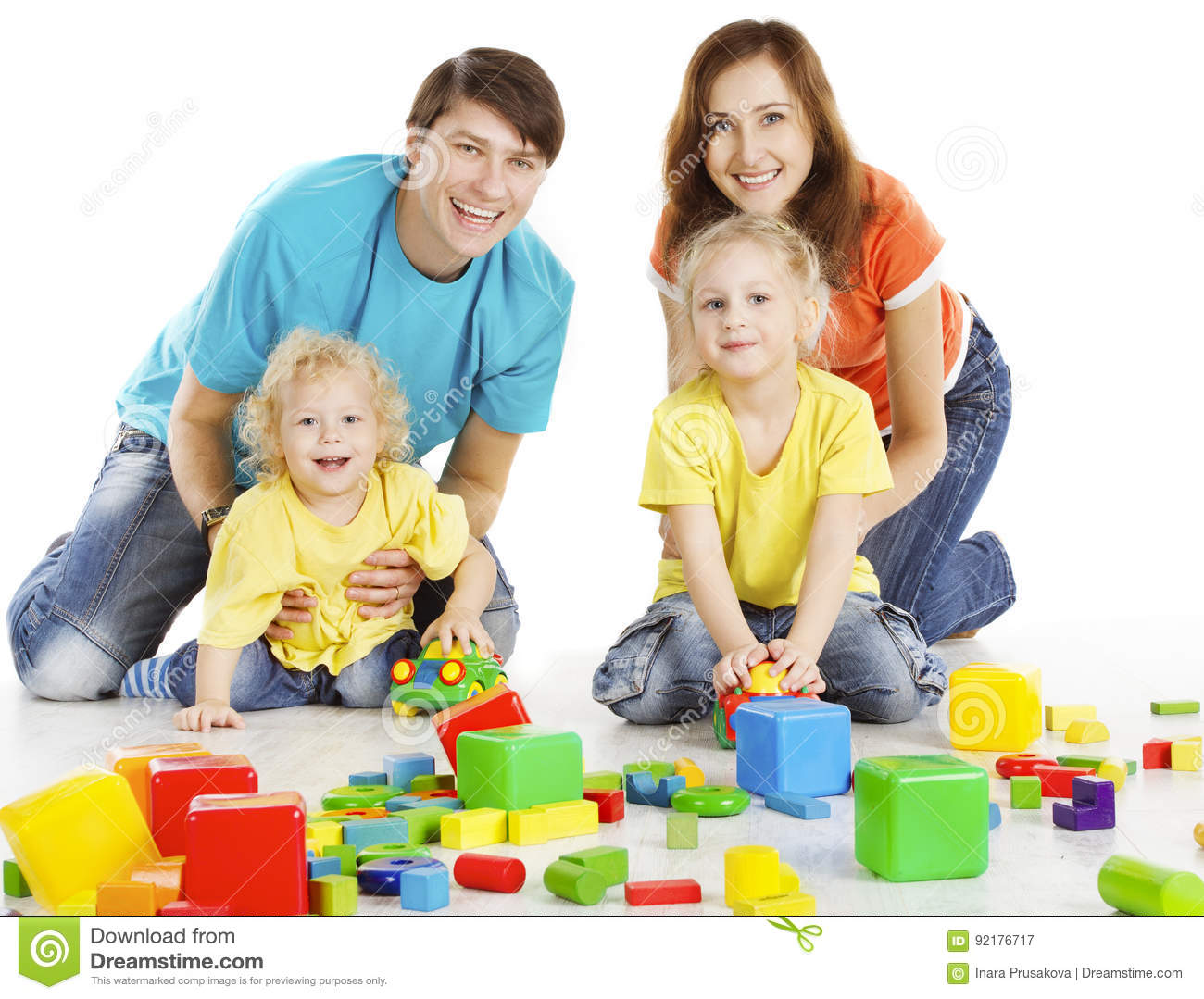Toys For Parents : Family with happy kids playing building blocks parents