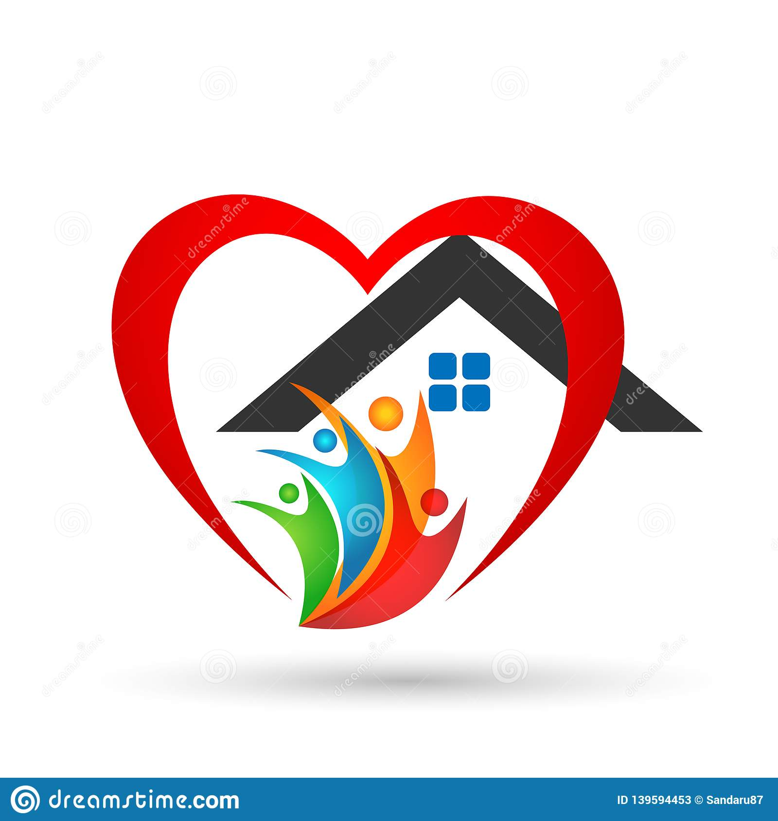 Family in happy union home logo, family, parent, kids,green love, parenting, care, symbol icon design vector on white background