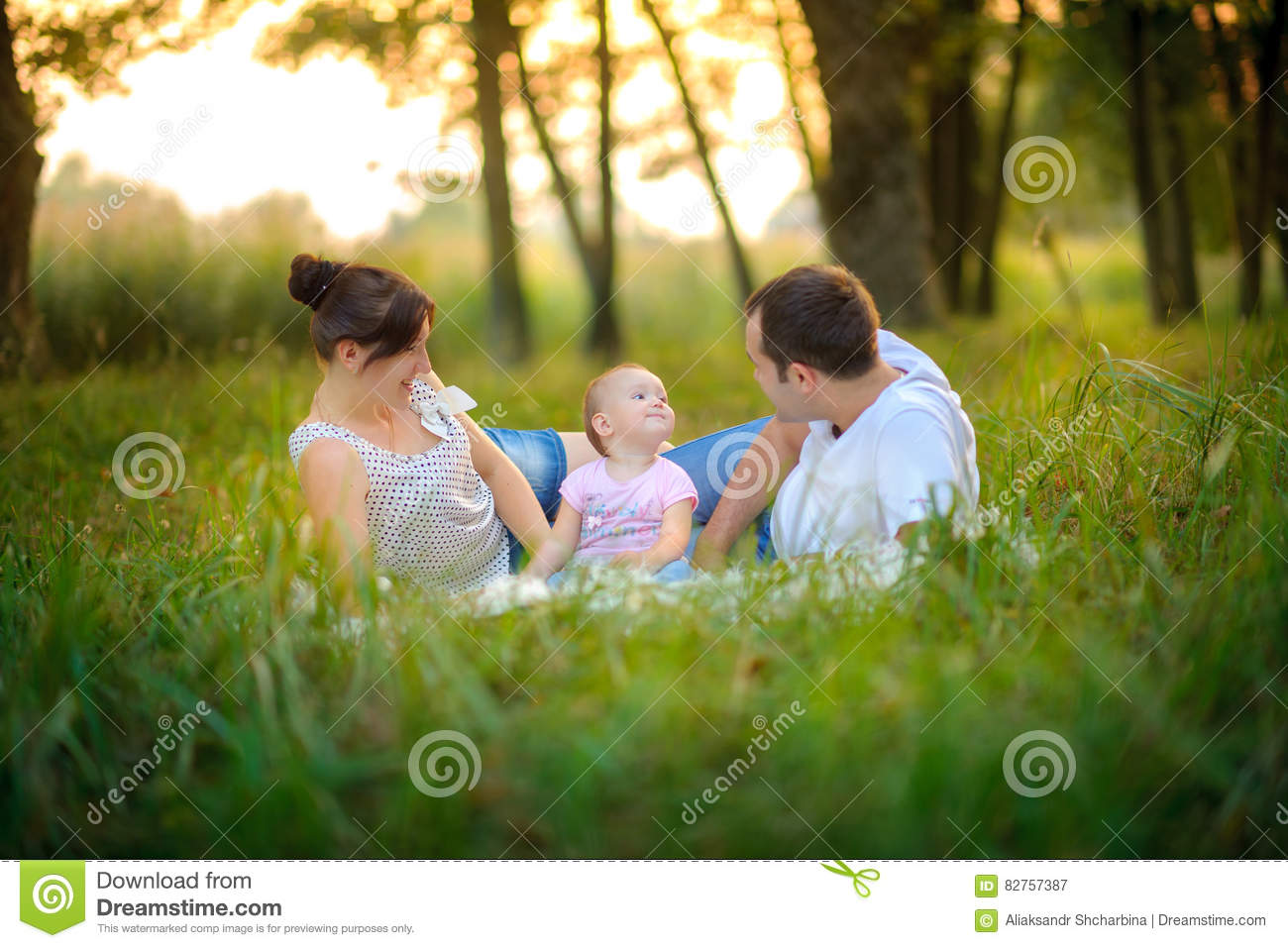 Family has a rest in the park