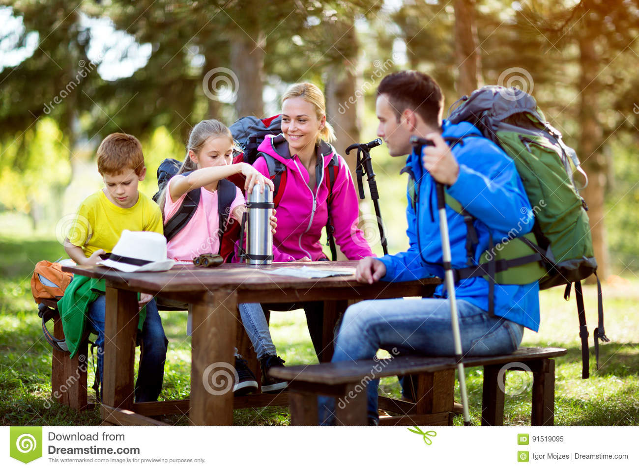 Family have a break from hiking