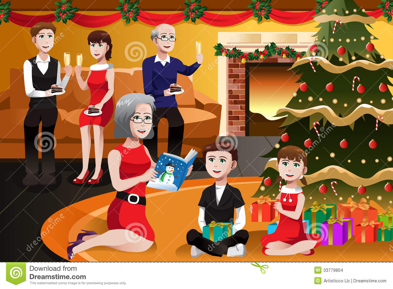 family having a christmas party stock vector illustration of